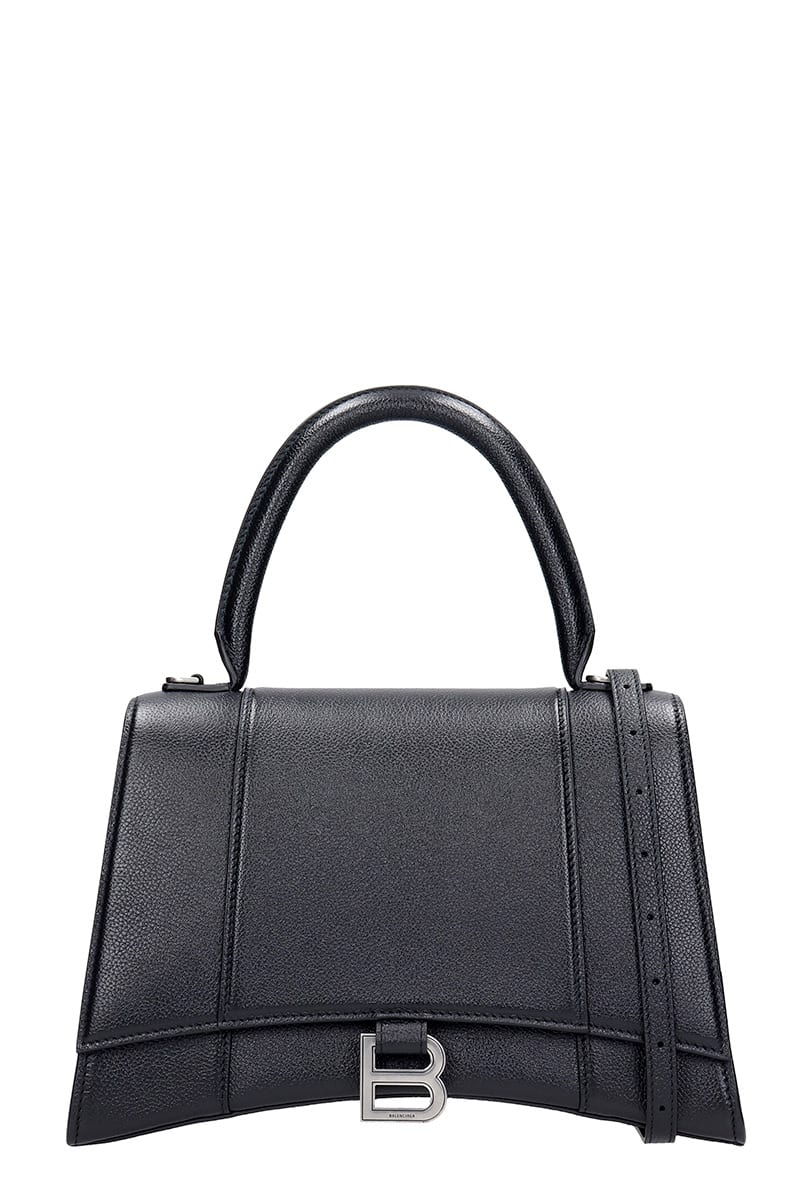 Balenciaga Hourglass Hand Bag In Black Leather