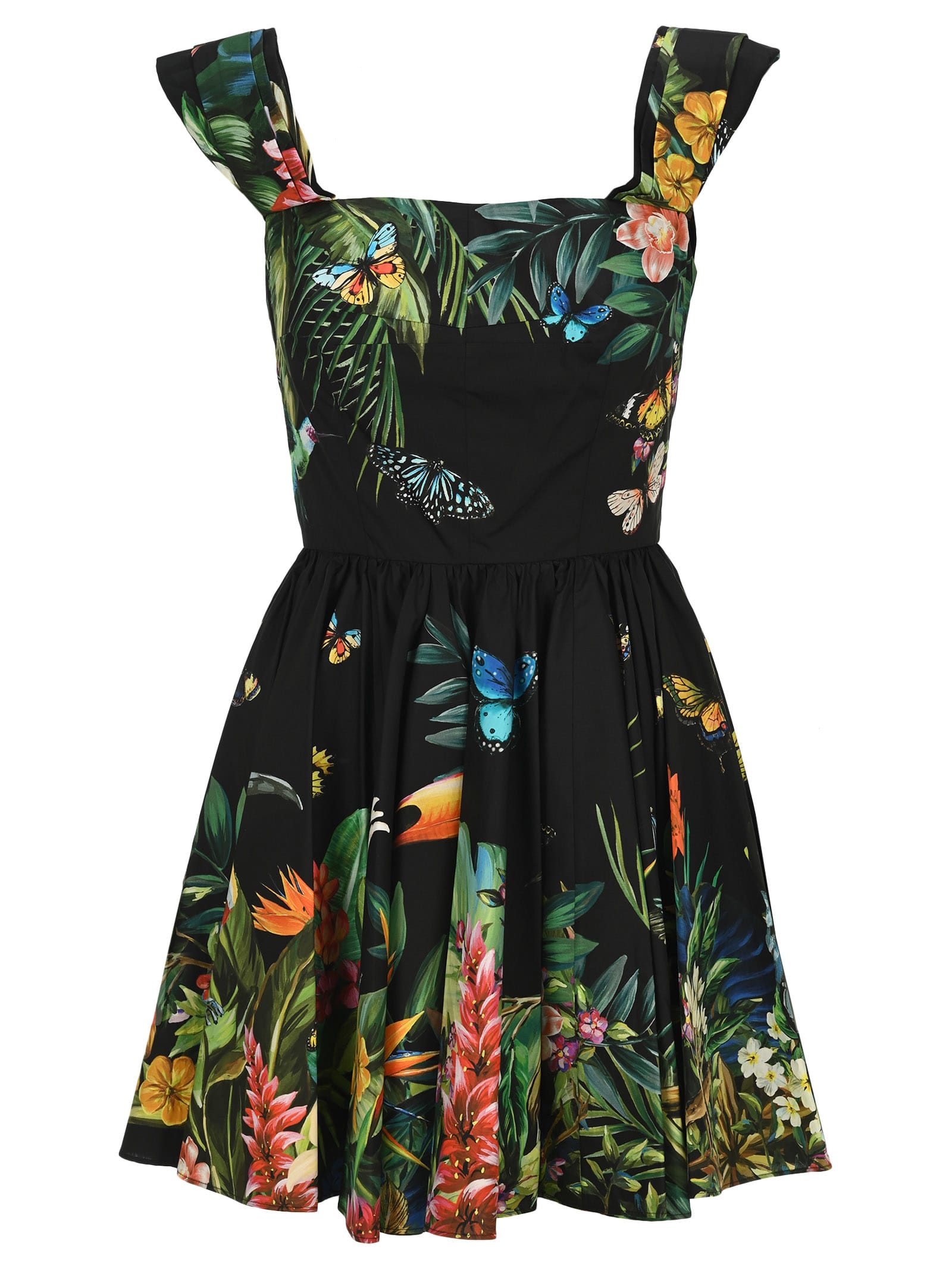 Buy Dolce & gabbana Tropical Print Flared Dress online, shop Dolce & Gabbana with free shipping