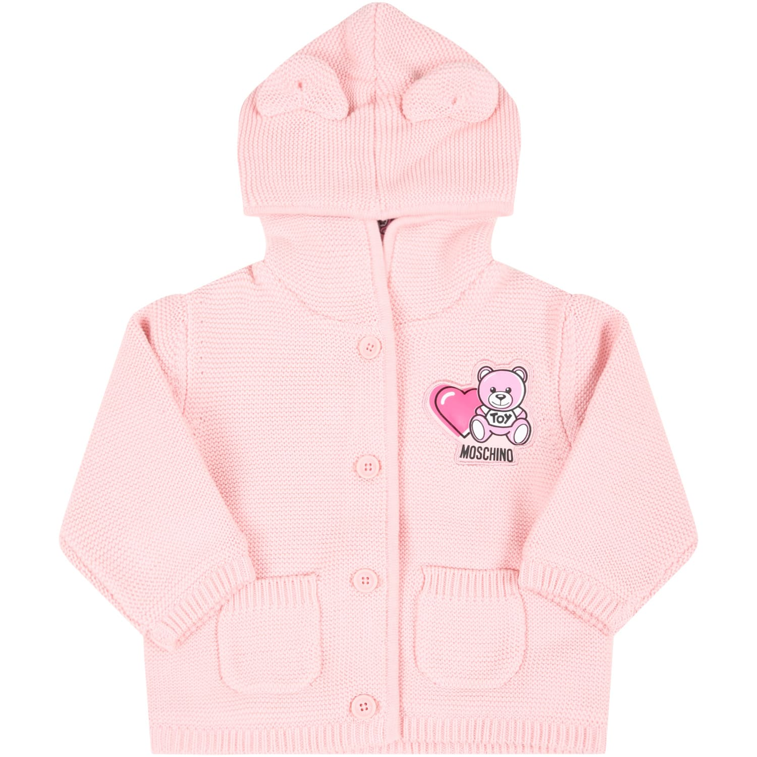 Moschino PINK CARDIGAN FOR BABYGIRL WITH TEDDY BEAR