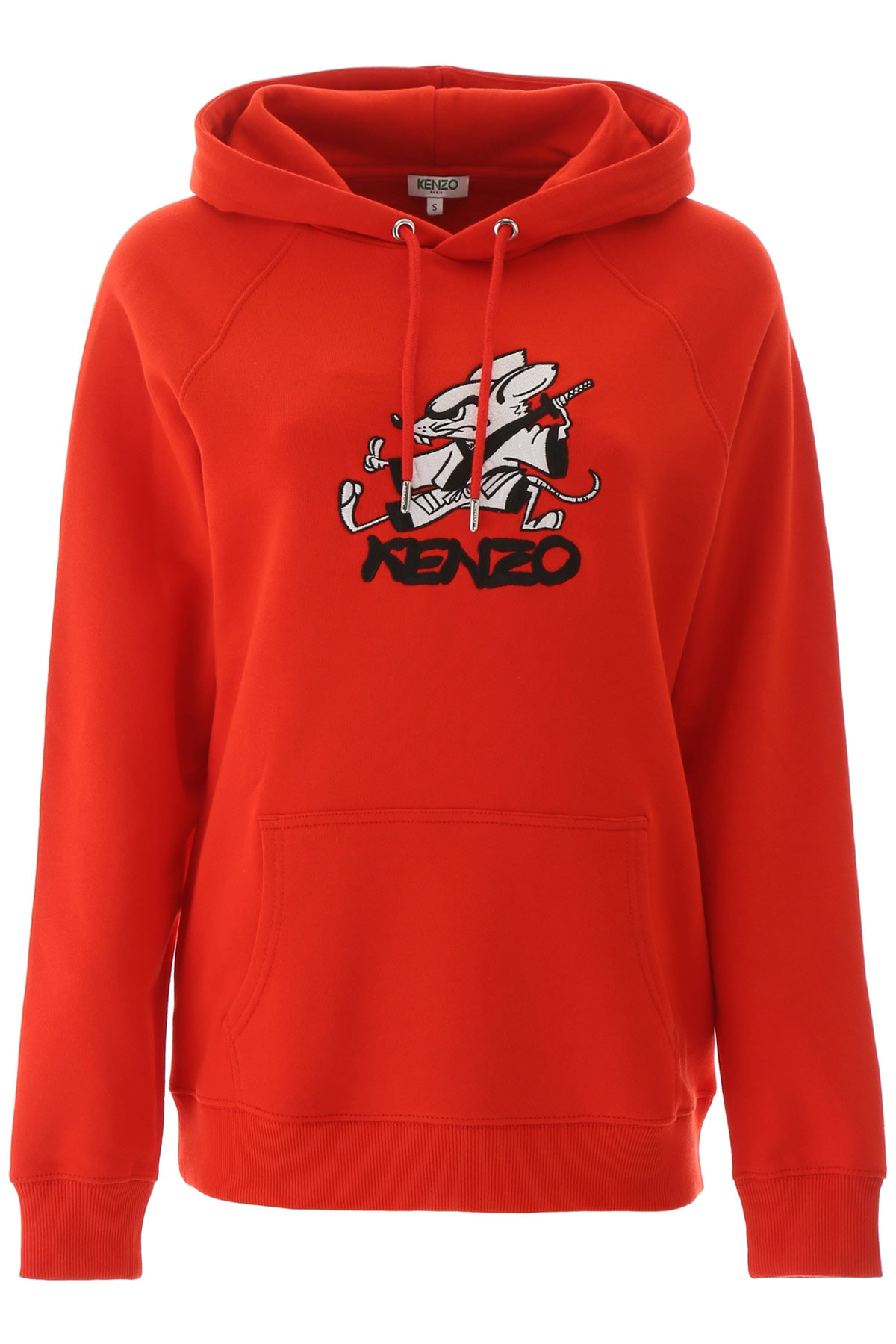 Kenzo oversized sweatshirt in cotton jersey, personalized with logo and Rat graphic print embroidered on the front, dedicated to the Chinese New Year 2020. It features drawstring hood, kangaroo pocket, ribbed cuffs and hem. The model is 177 cm tall and wears a size S. Composition: 100% cotone