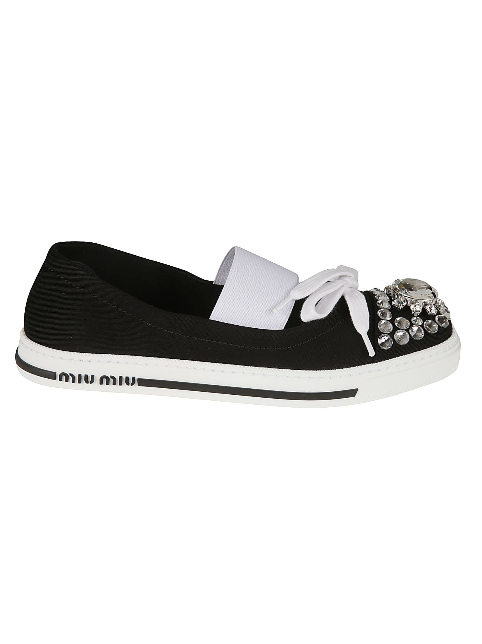 Buy Miu Miu Garbadine 1 Ankle Elastic Strap Embellished Slip-on Sneakers online, shop Miu Miu shoes with free shipping