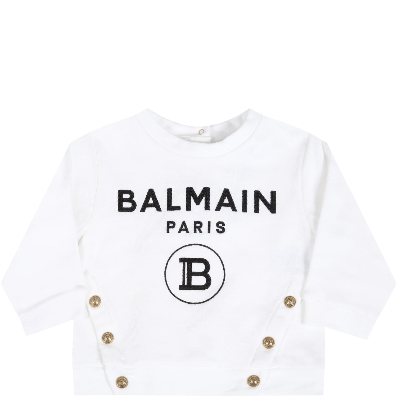 Balmain Cottons WHITE SWEATSHIRT FOR BABYGIRL WITH LOGO
