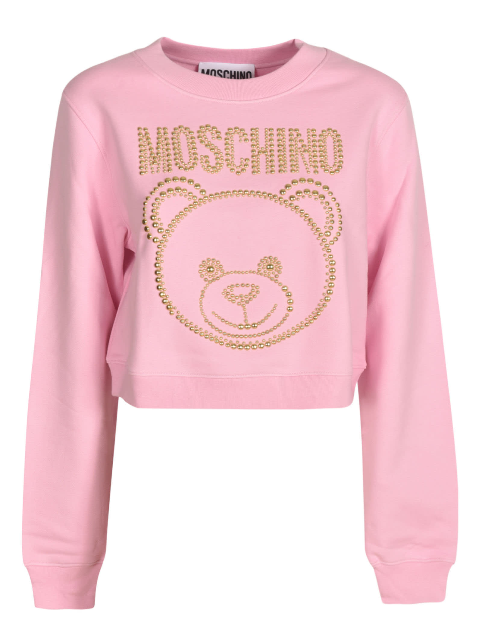Moschino Bear Embellished Cropped Top In Pink