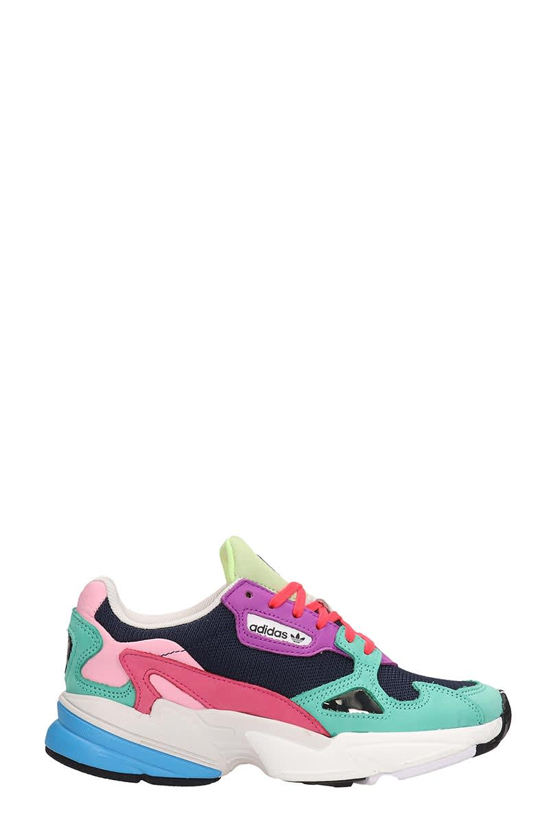 Adidas Adidas Falcon W Pink And Blue Fabric Sneakers Rose Pink
