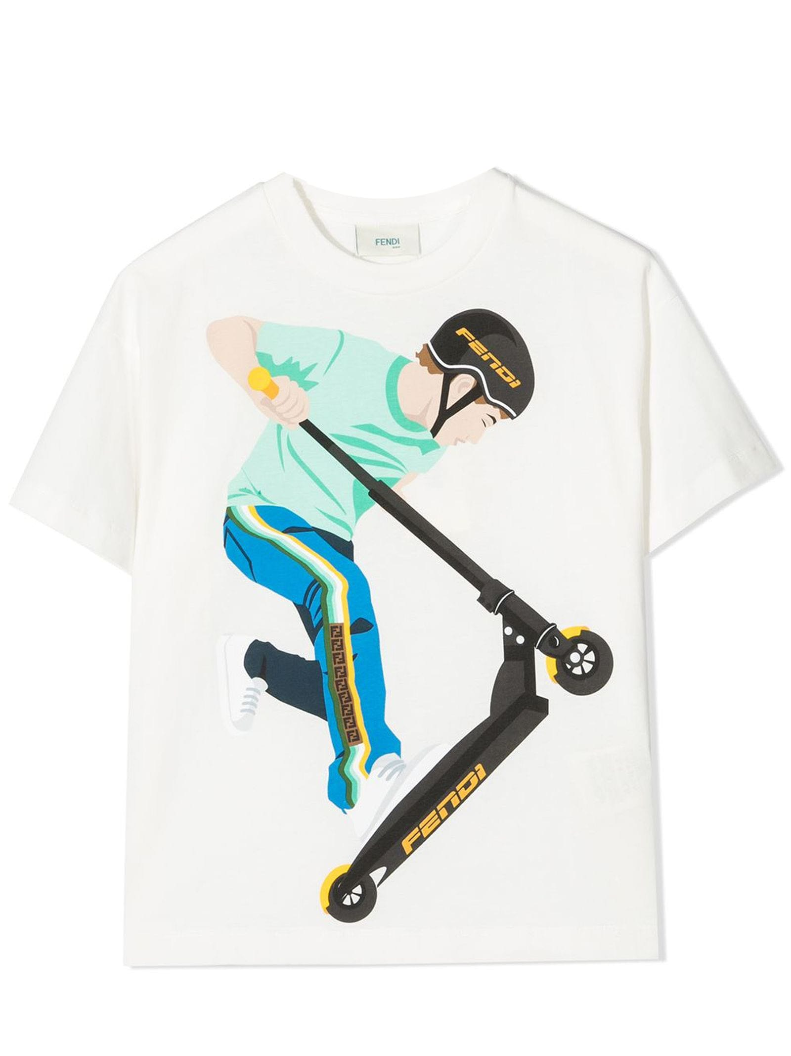 Fendi T-shirts WHITE COTTON T-SHIRT