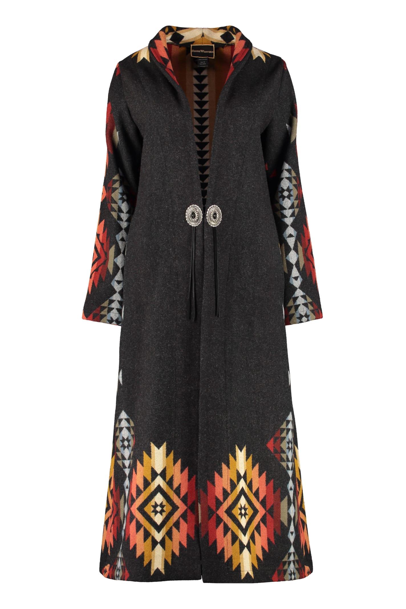 Jessie Western Pueblo Wool Long Coat