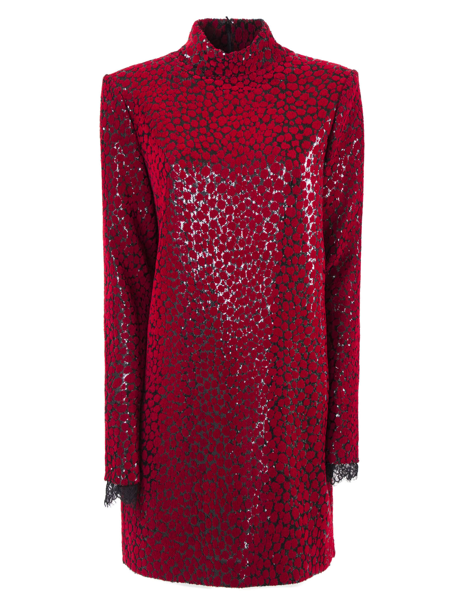 Philosophy di Lorenzo Serafini Red Ocelot Print Fabric Dress