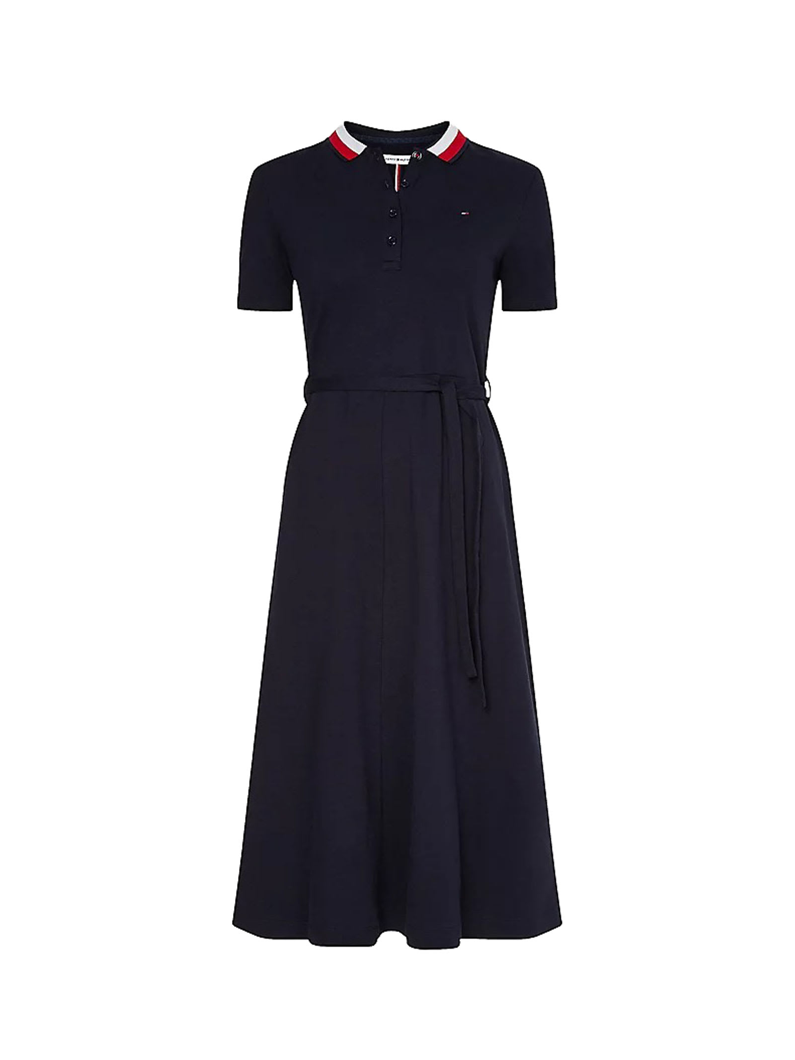 Buy Tommy Hilfiger Long Dress In Blue Cotton online, shop Tommy Hilfiger with free shipping