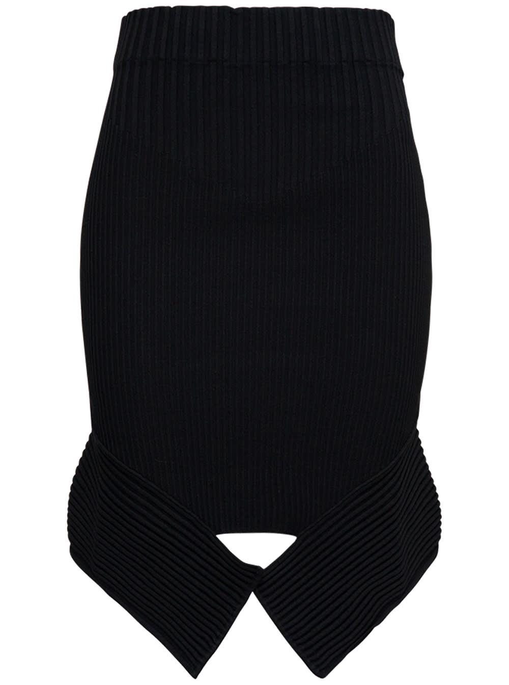 Black High Waist Skirt With Cut Out Detail