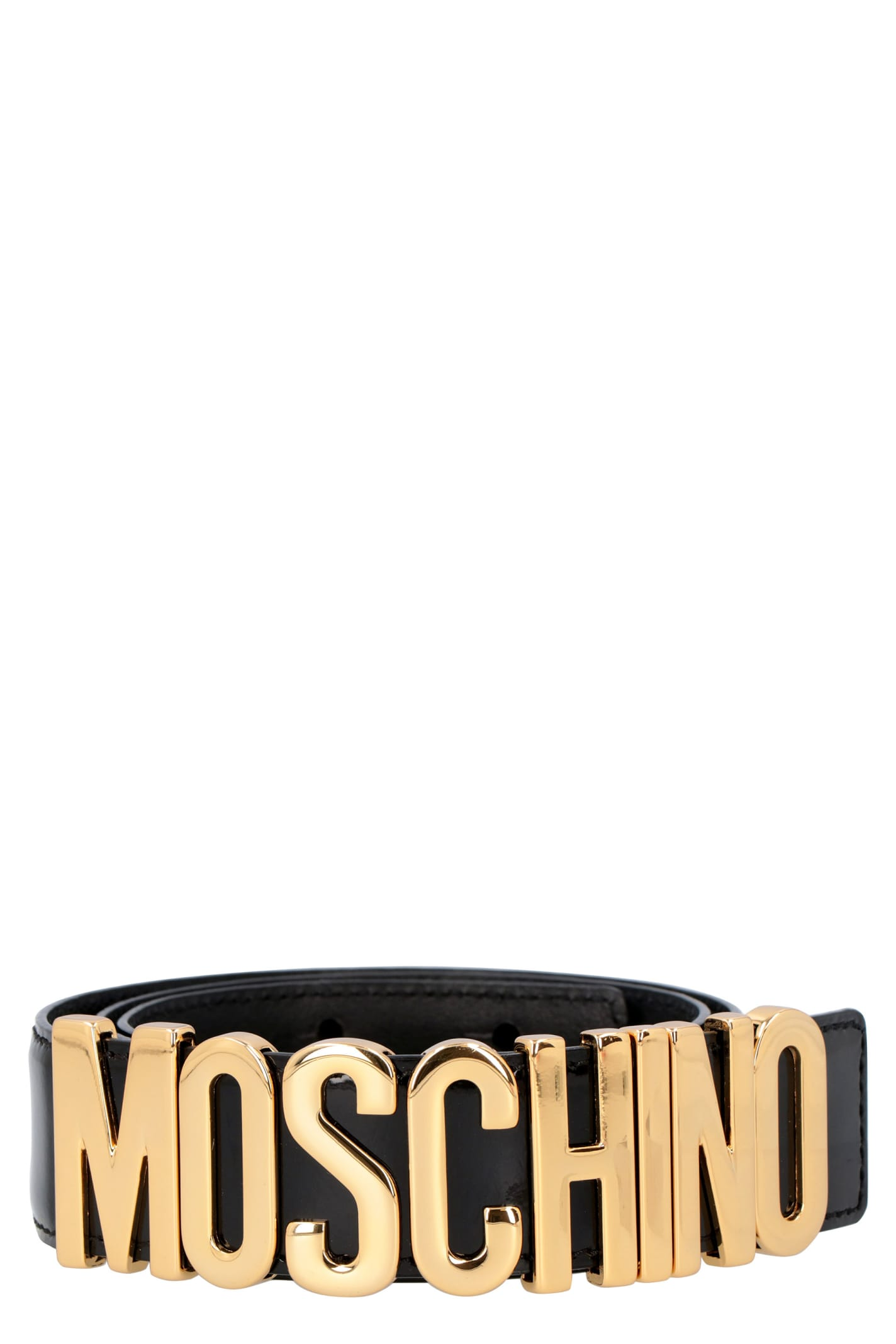 Moschino LOGO BUCKLE LEATHER BELT