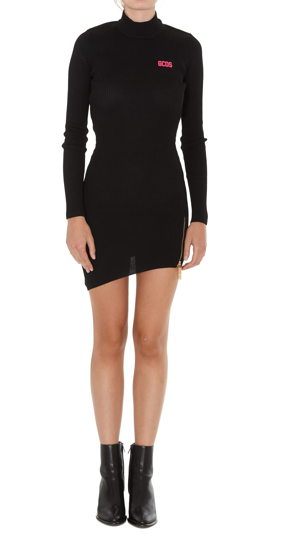 Gcds Collar Asymmetrical Dress