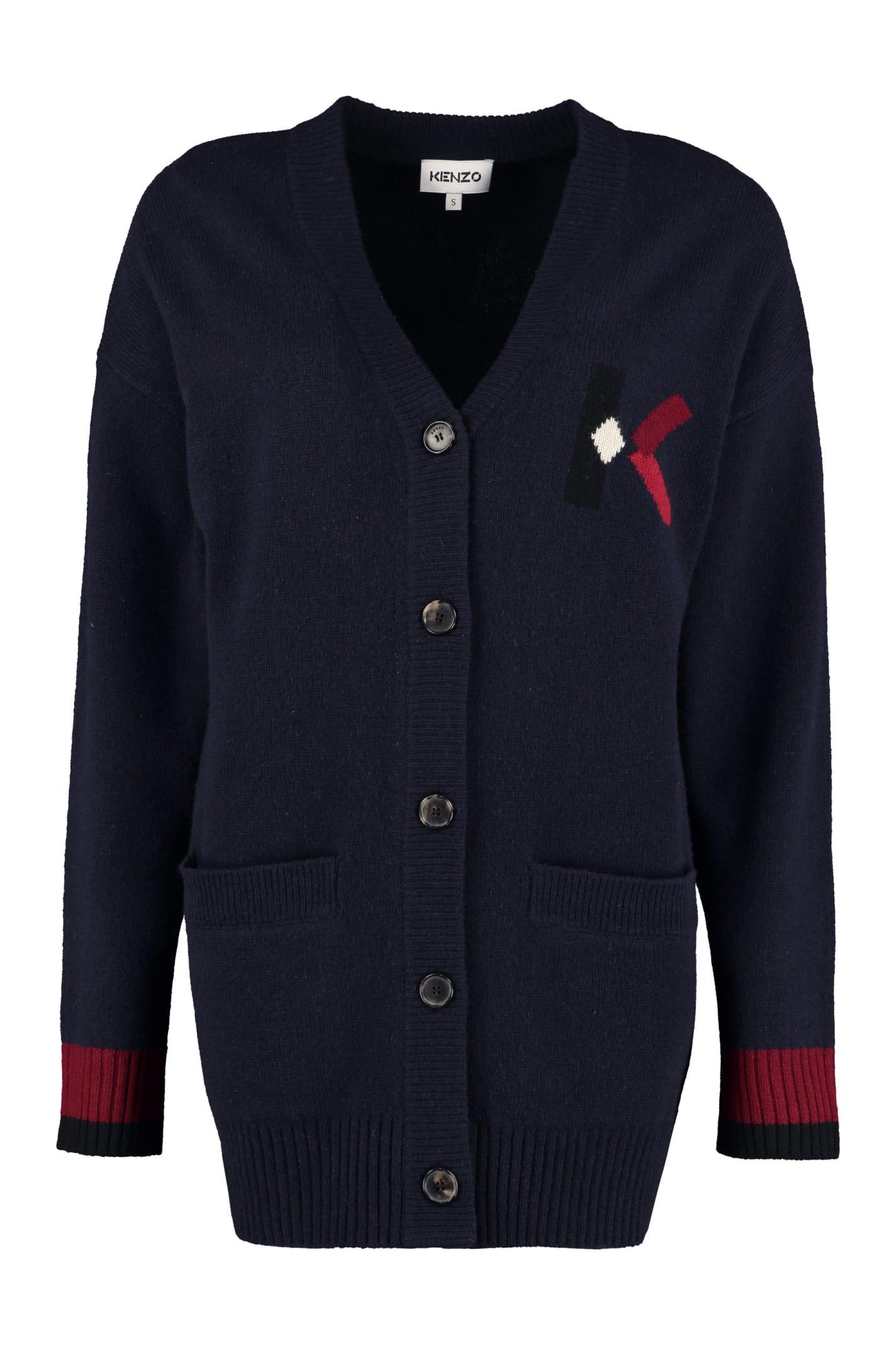 Kenzo Intarsia Wool Blend Cardigan
