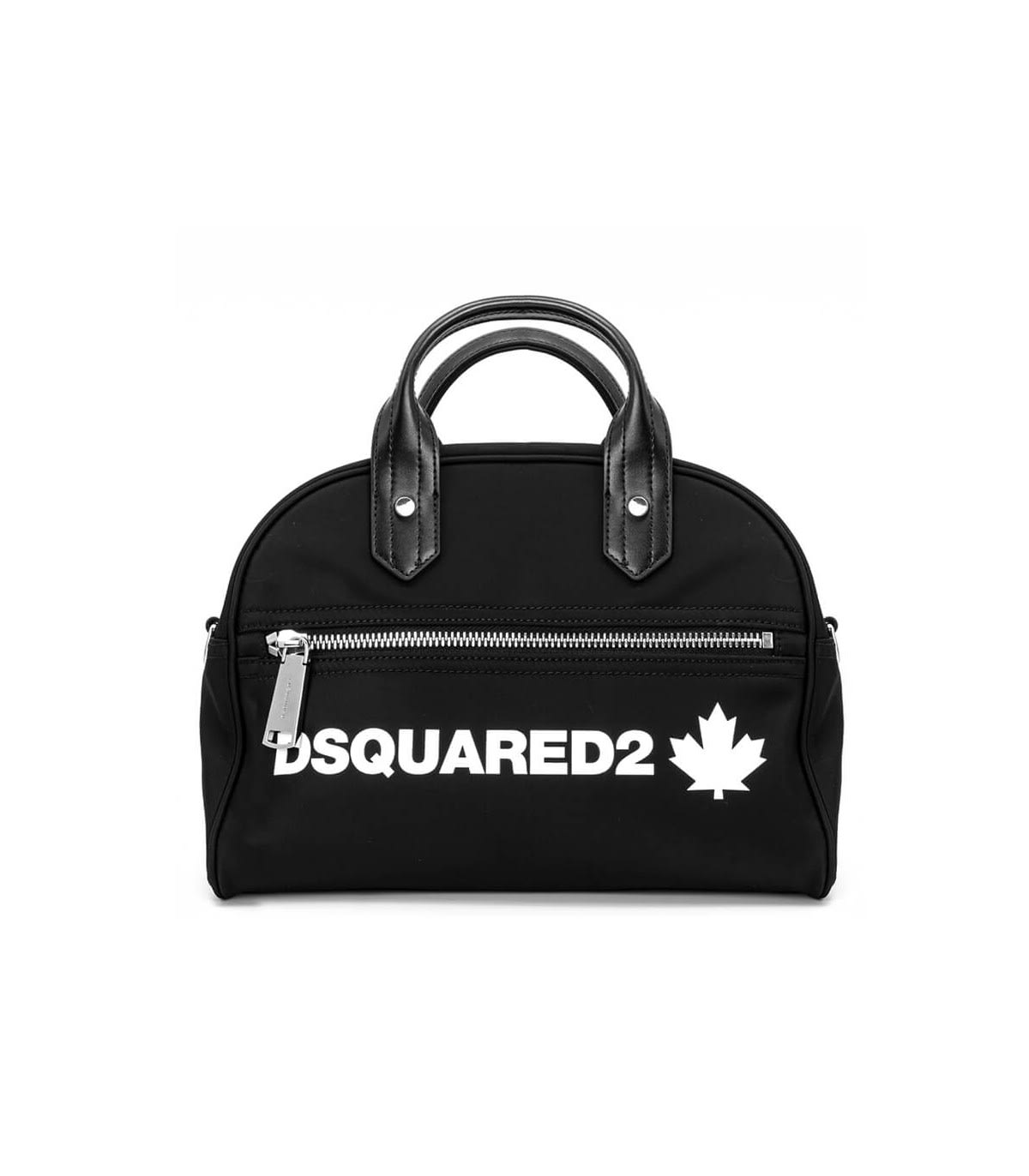 Dsquared2 Leathers BLACK HANDBAG WITH WHITE LOGO