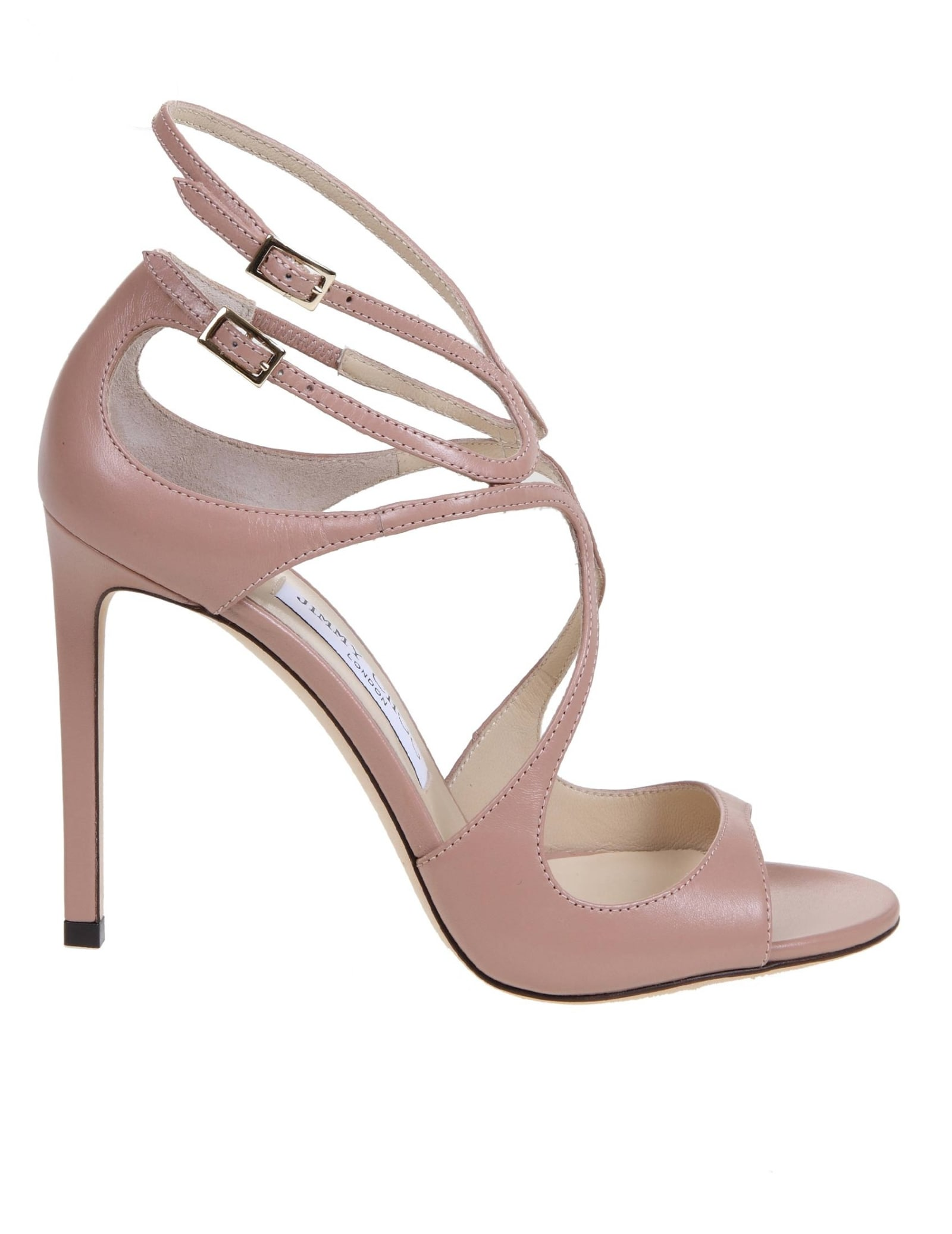 Buy Jimmy Choo Lang Nap Sandal In Antique Pink Leather online, shop Jimmy Choo shoes with free shipping