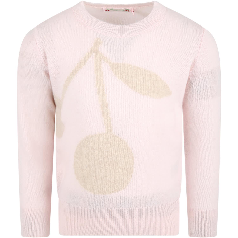 Pink Cashmere For Girl Avec Beige Cherries