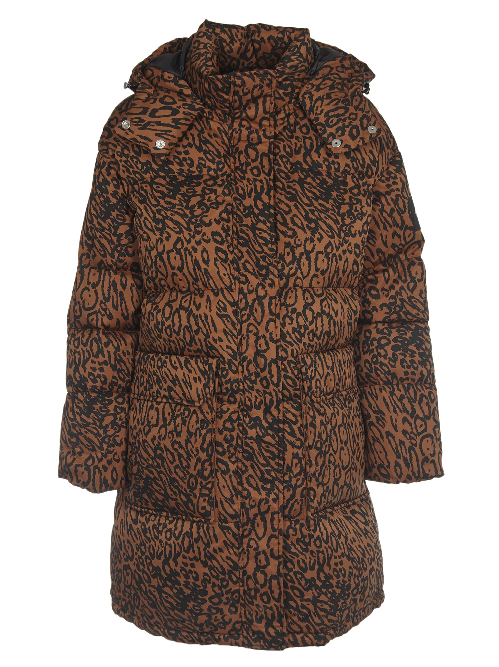 Calvin Klein Long Leopard Patterned Down Jacket