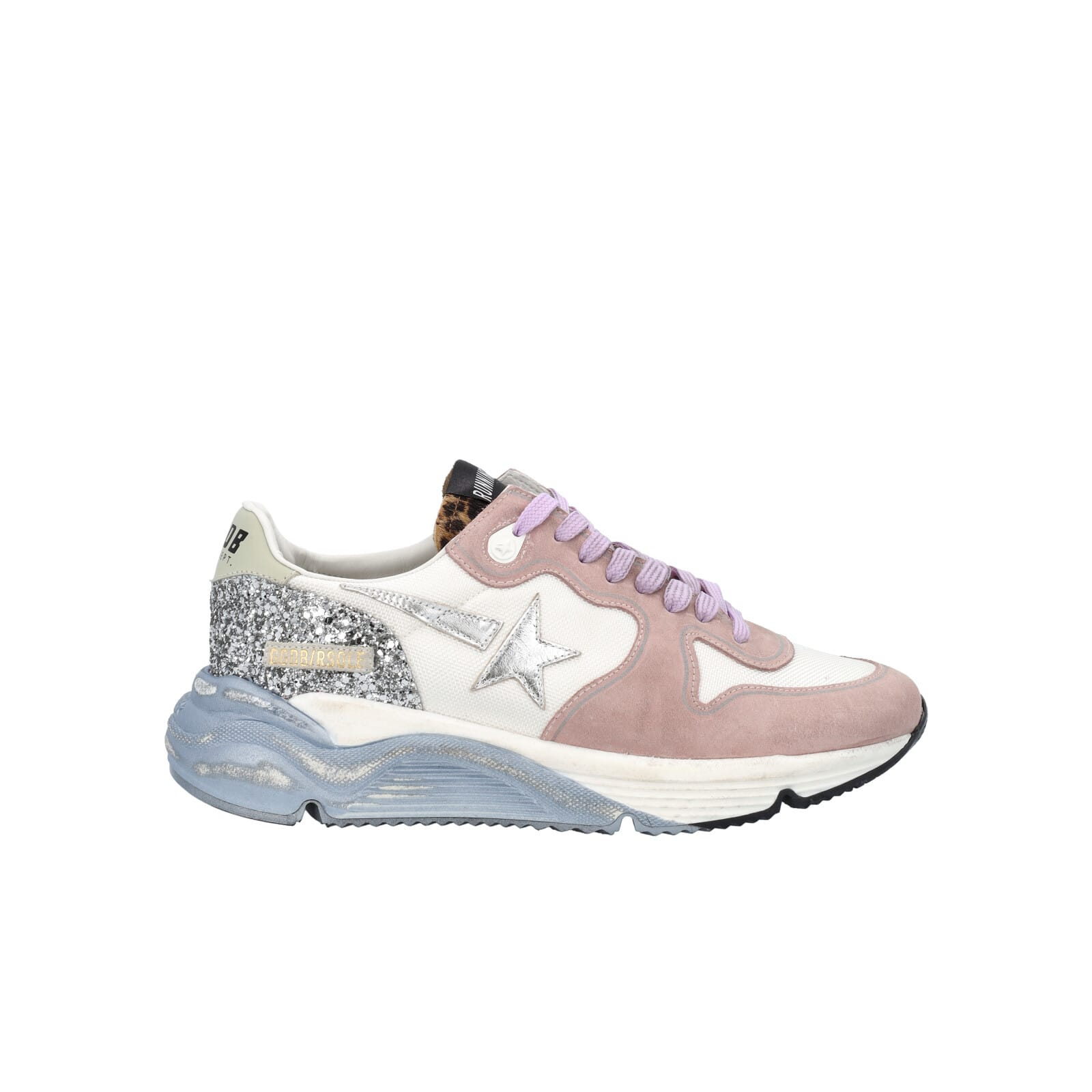 Golden Goose Running Sole Sneakers In Suede With Glitter And Ice Sole