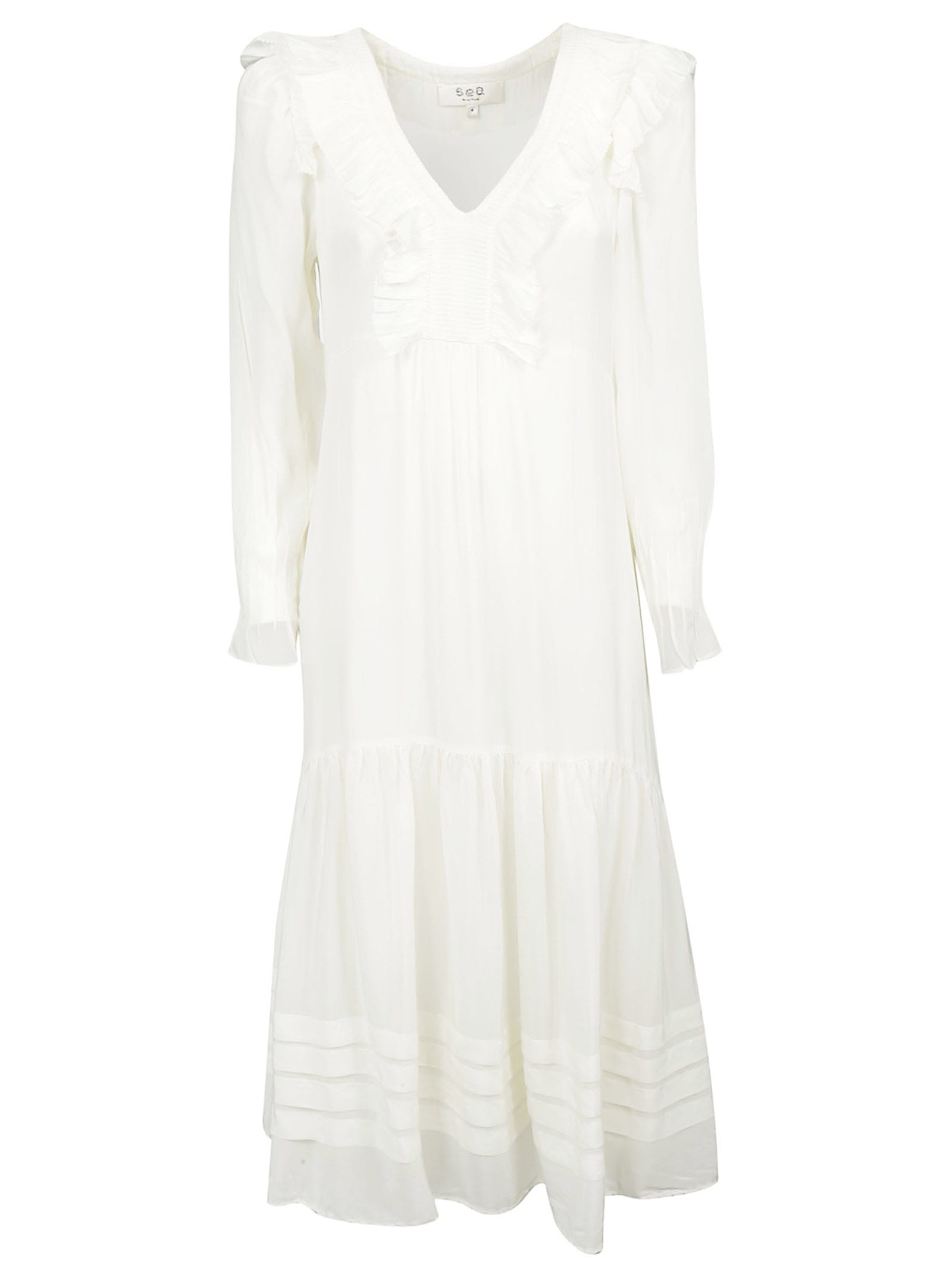 Buy Sea Ruffled Detail Long-sleeved Dress online, shop Sea with free shipping