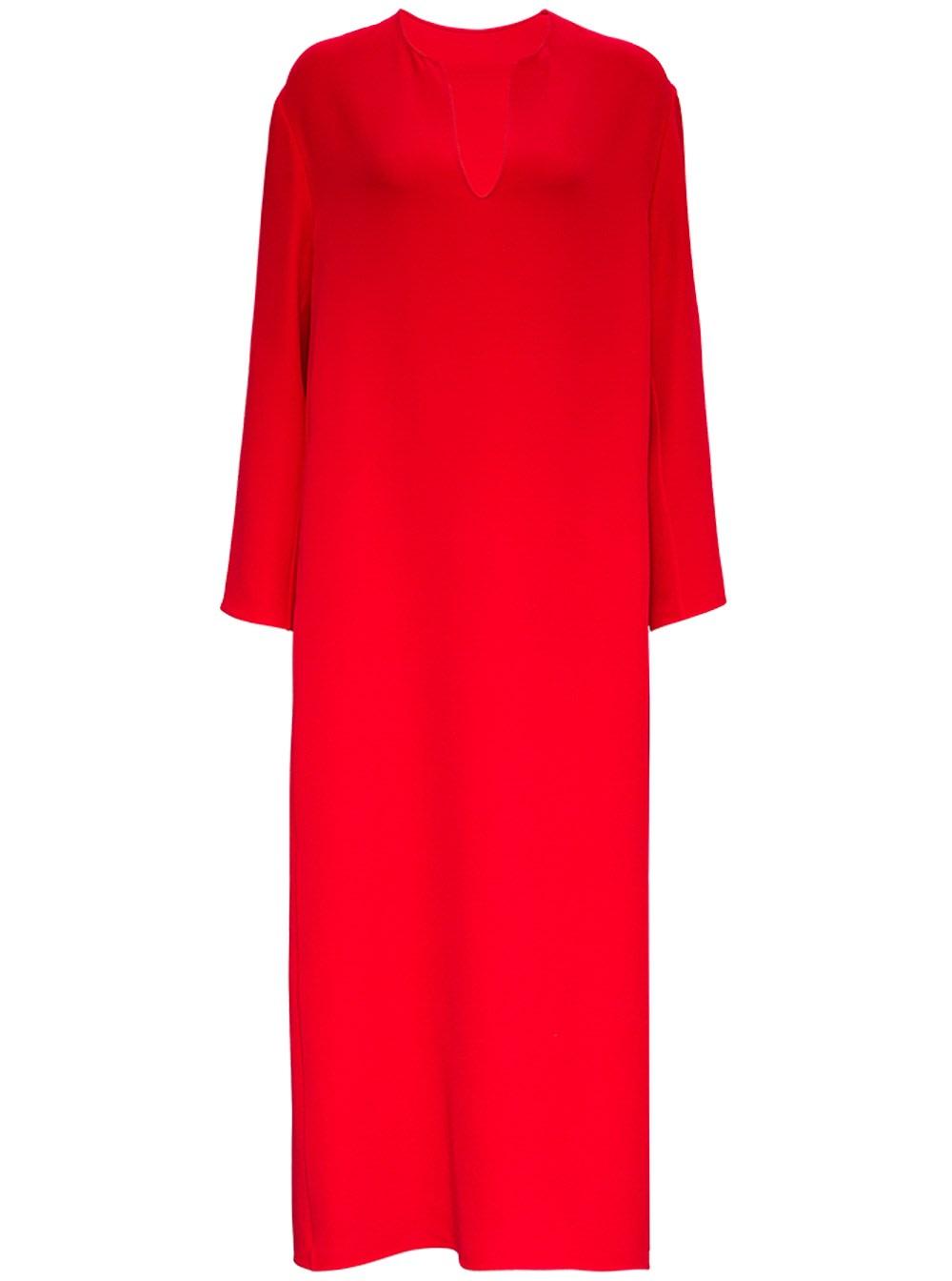 Valentino Long Red Silk Dress