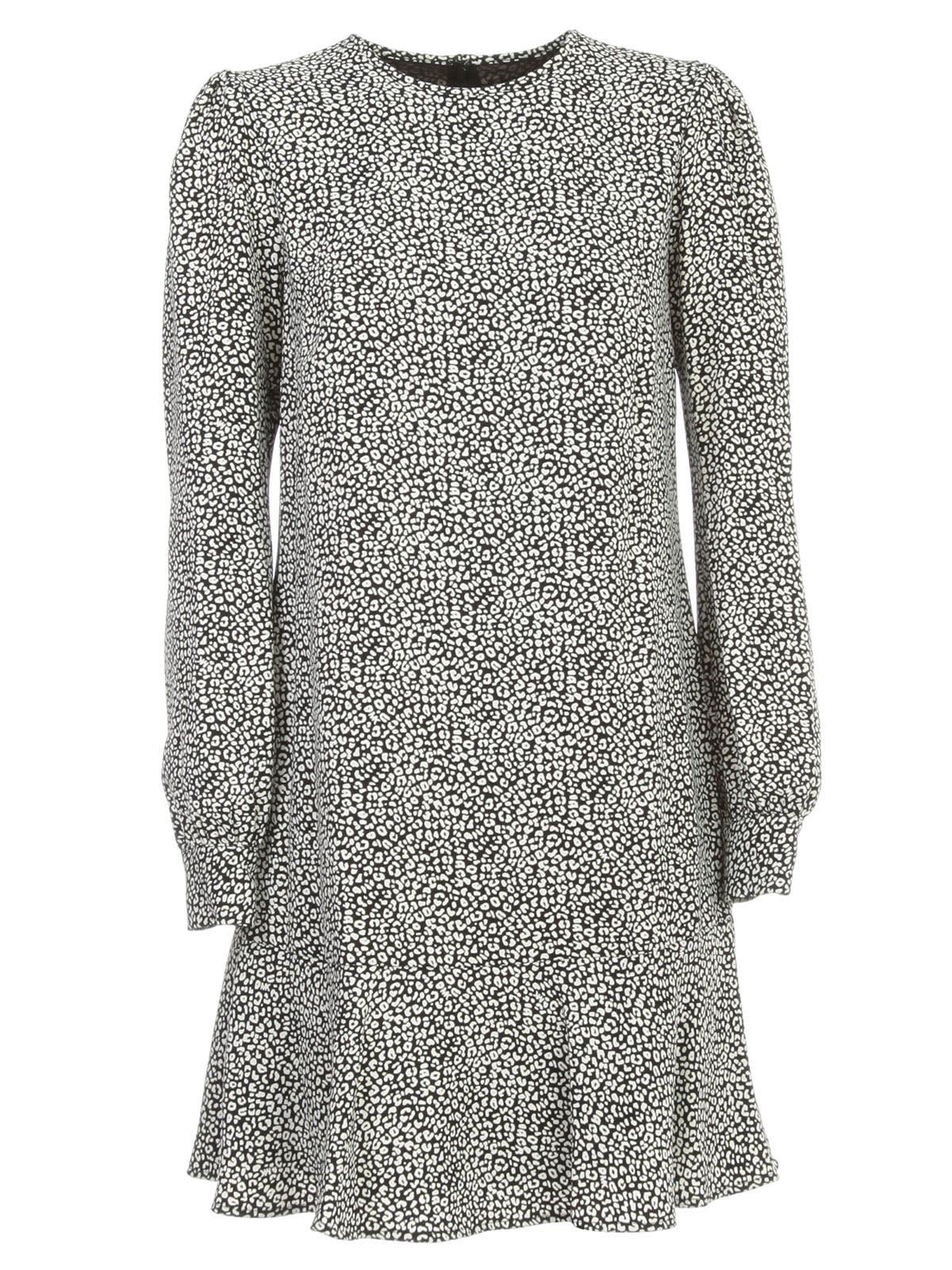 Buy MICHAEL Michael Kors Flat Babycat Dress L/s Crew Neck W/print online, shop MICHAEL Michael Kors with free shipping
