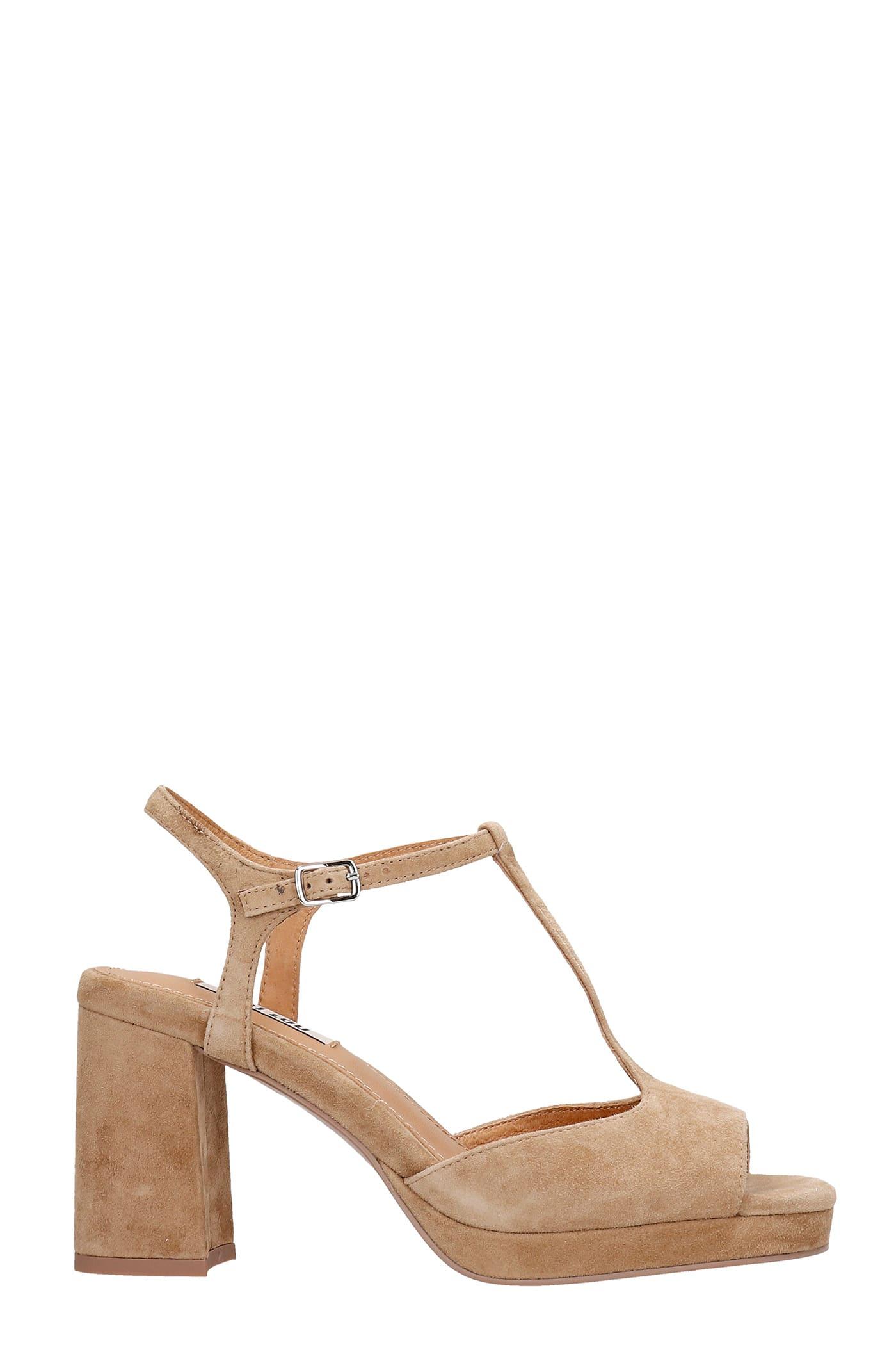 Sandals In Beige Suede