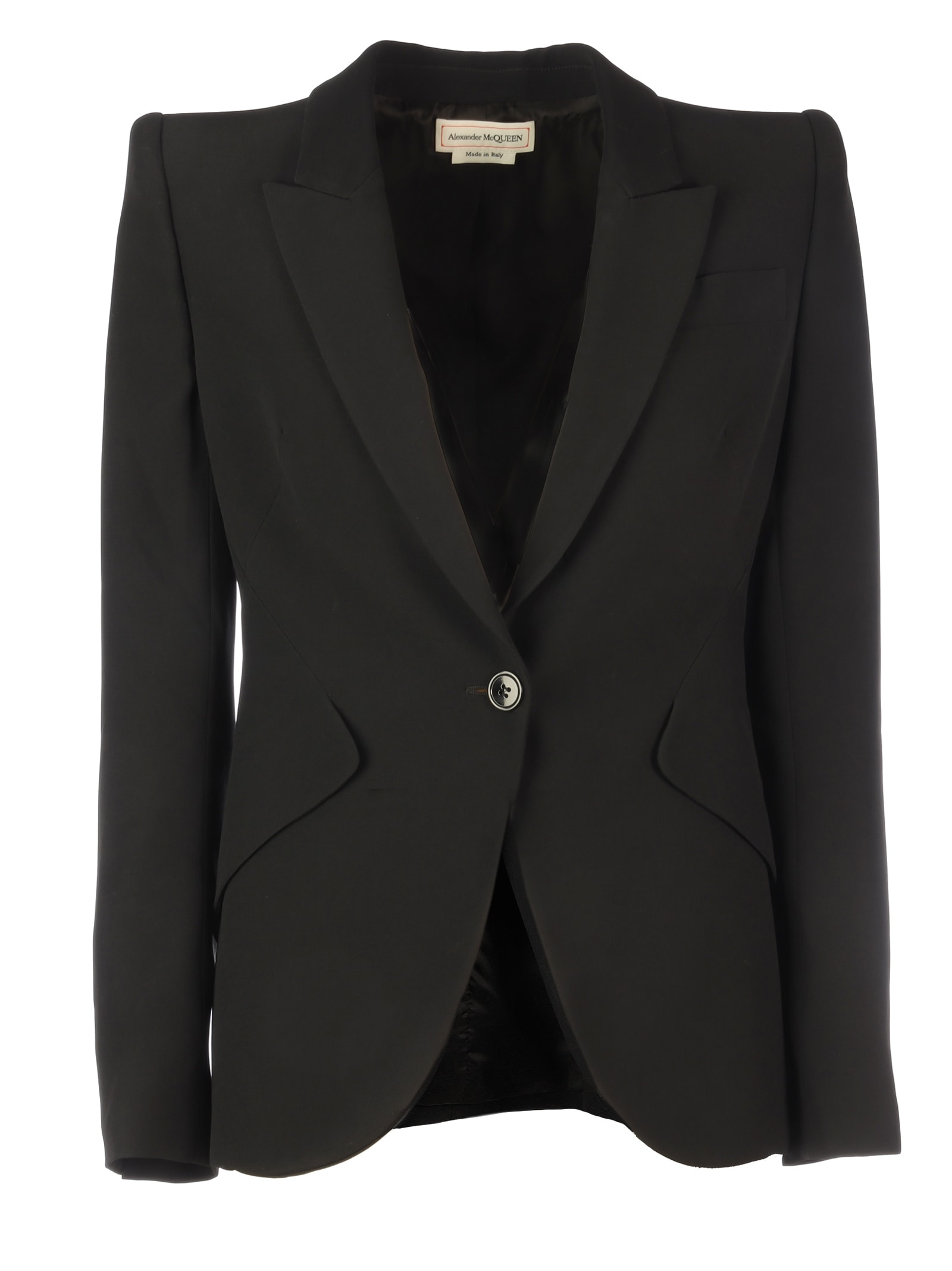 Alexander McQueen Narrow Viscose Jacket/leaf Crepe