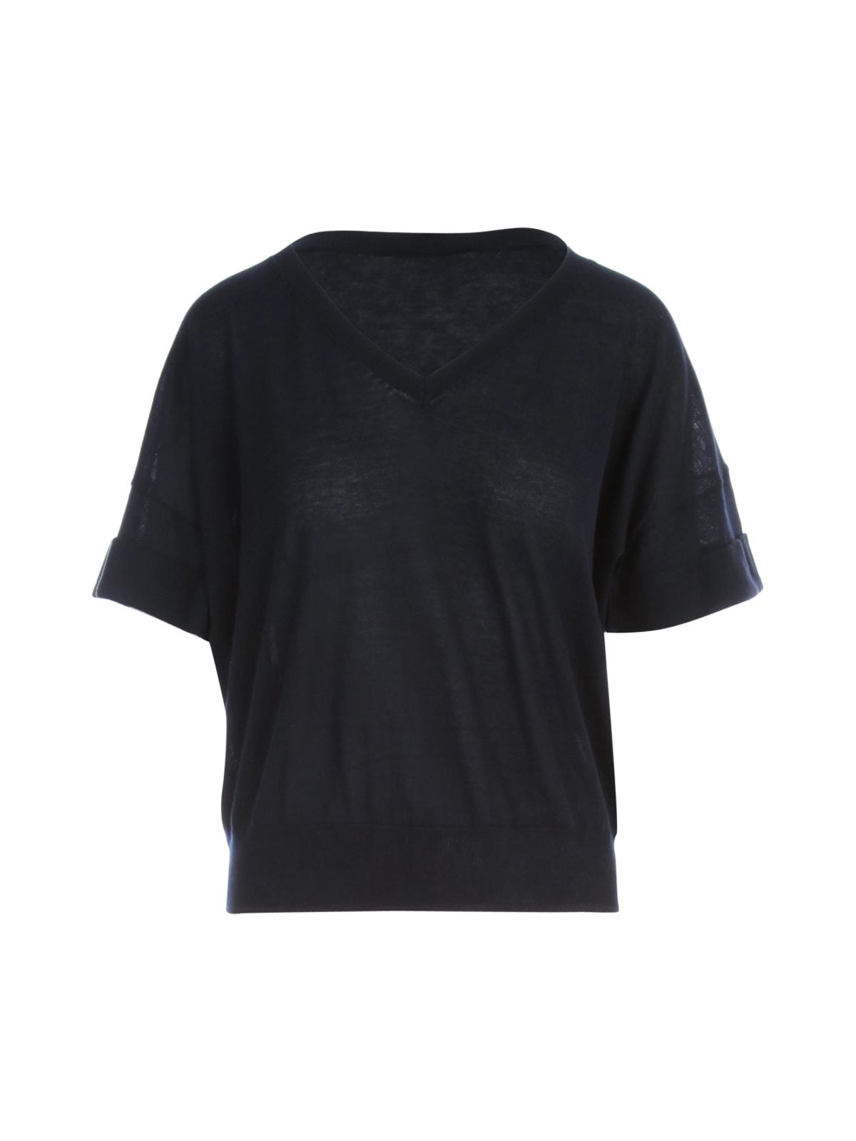 Cotton V Neck 3/4s Sweater