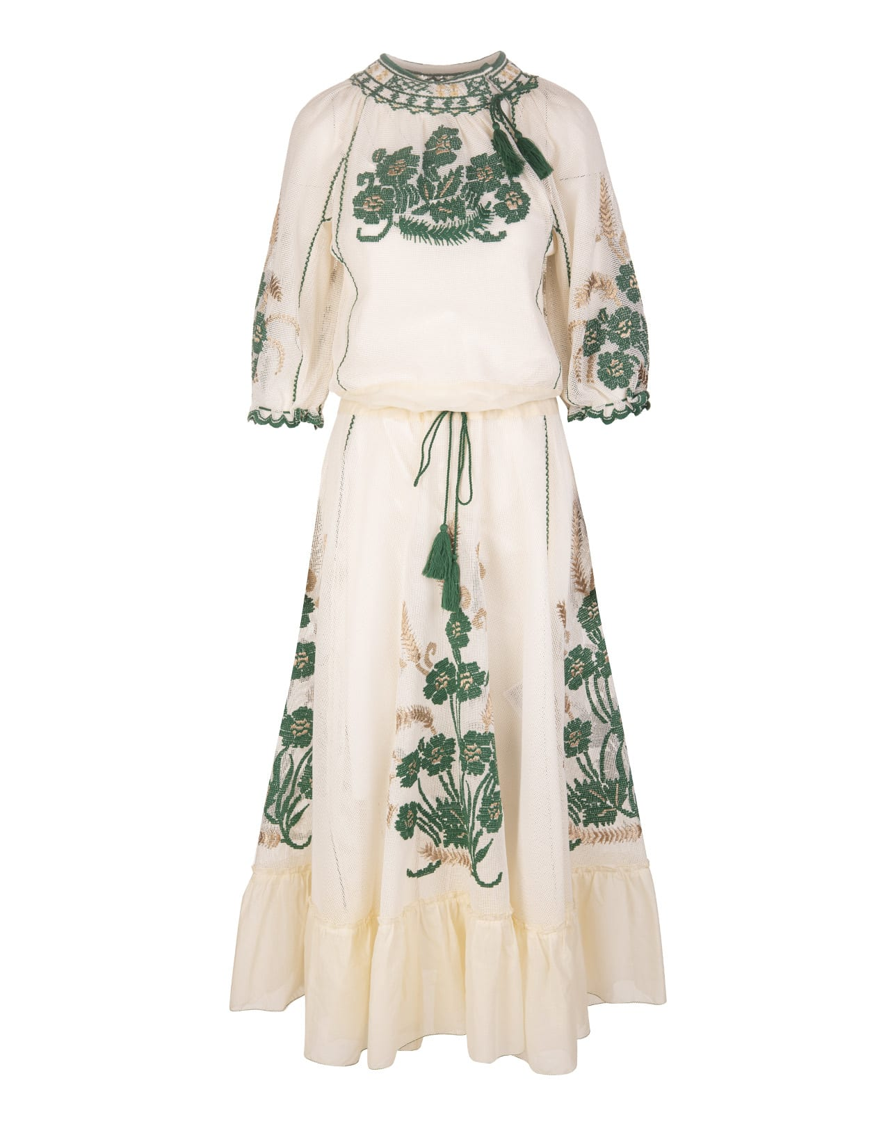 Buy Ivory/green/beige Tassel-trim Embroidered Dress online, shop RED Valentino with free shipping