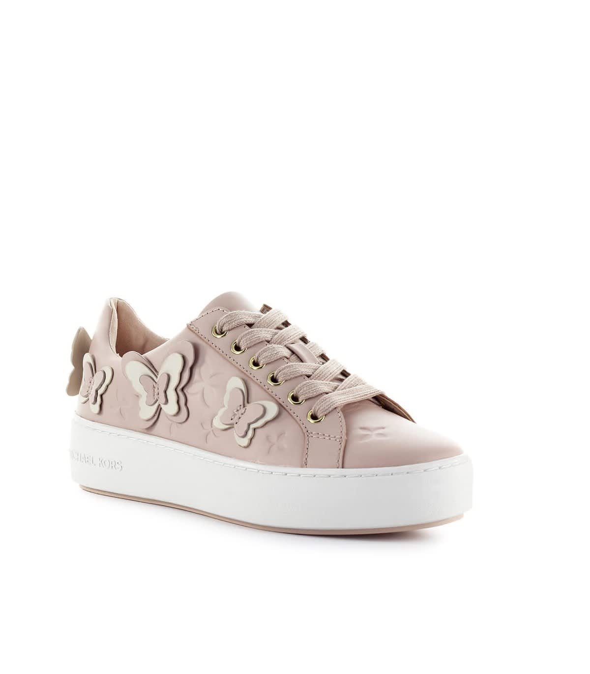 Details about Women's Shoes Sneakers MICHAEL KORS Felicity Lace Up Leather Soft Pink New