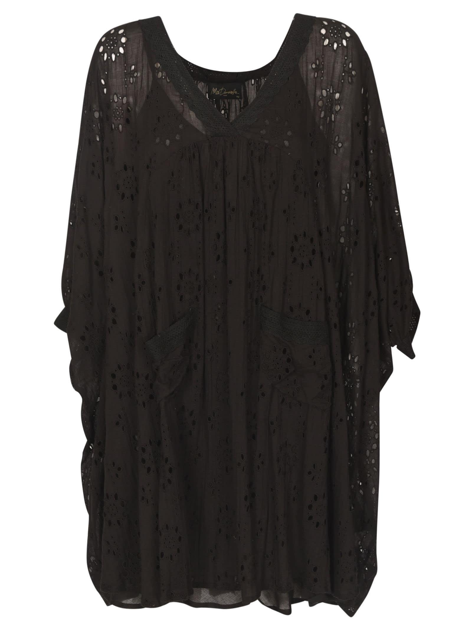 Mes Demoiselles V-neck Perforated Short Dress