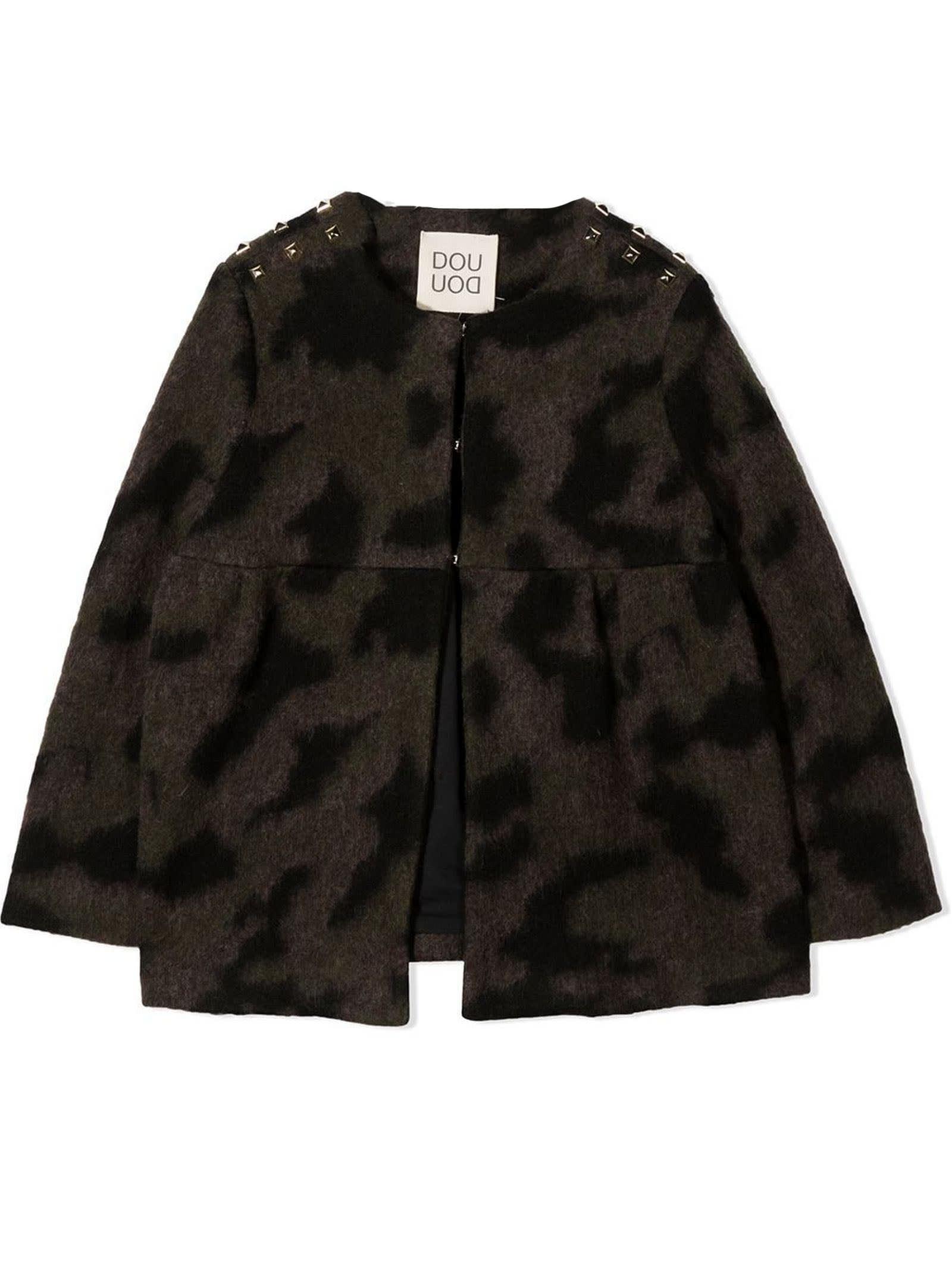 Black Cotton-blend/wool-blend Abstract Print Jacket