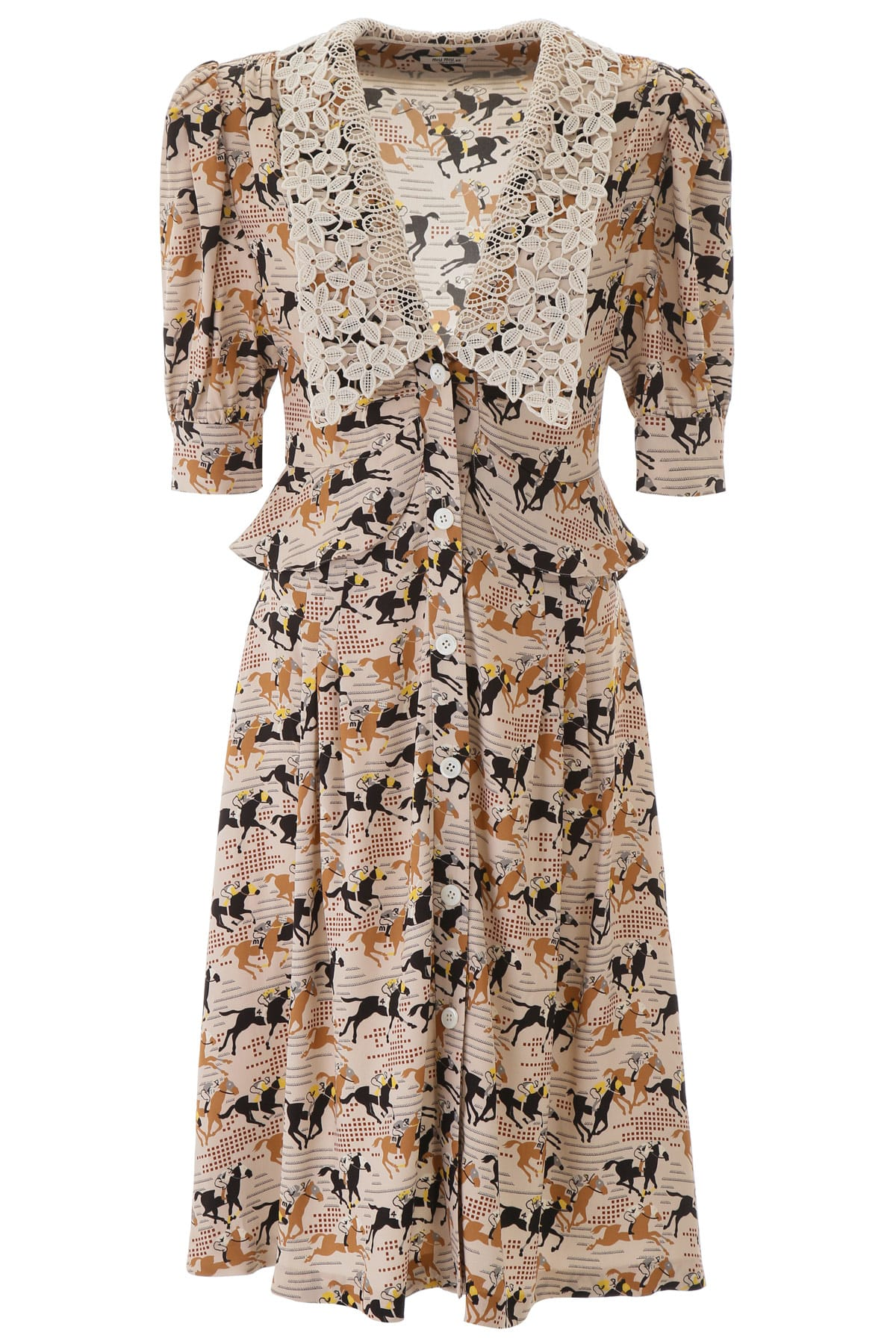 Buy Horses Print Midi Dress online, shop Miu Miu with free shipping