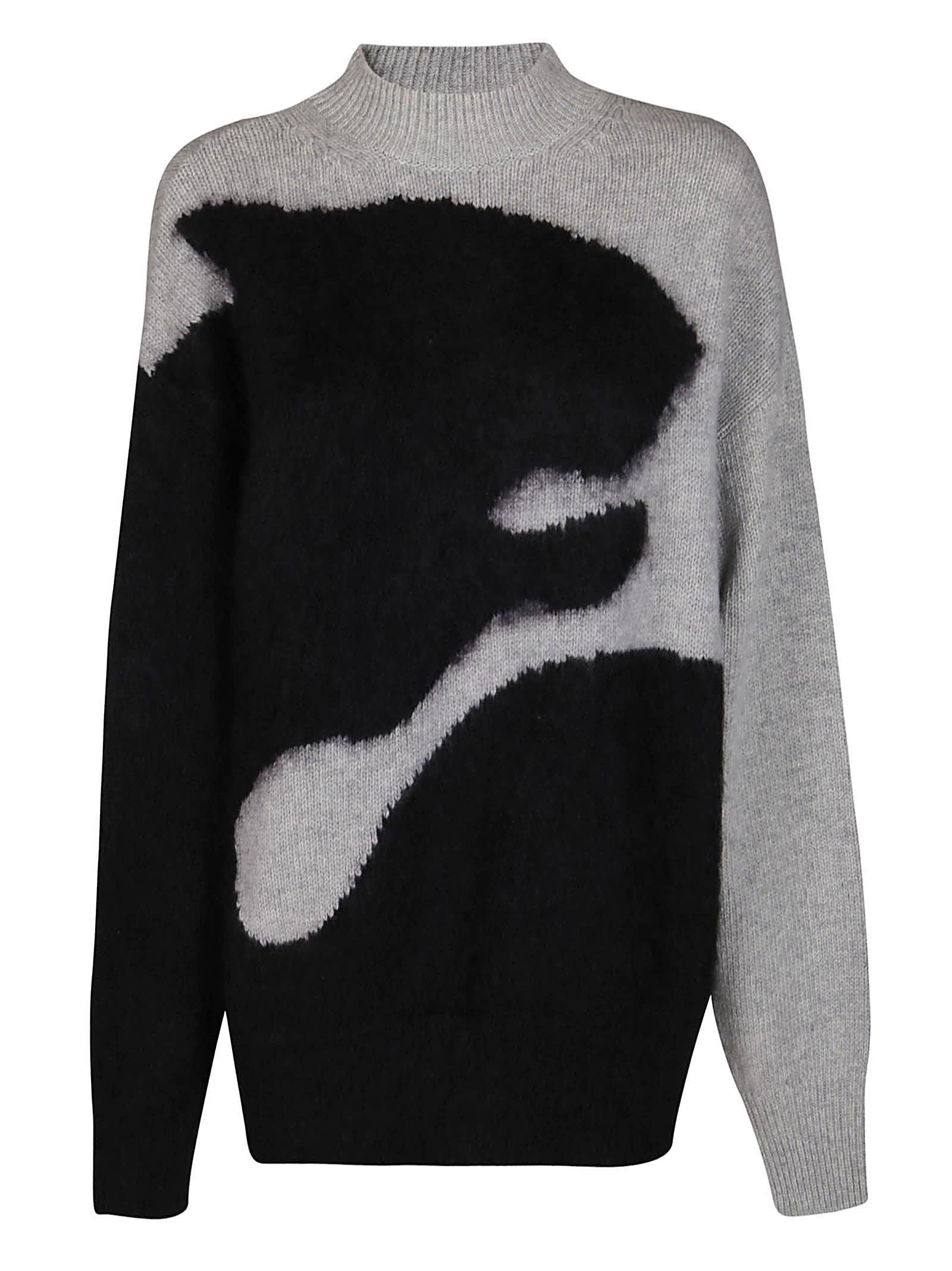 Kenzo Black And Grey Mohair-wool Blend Jumper