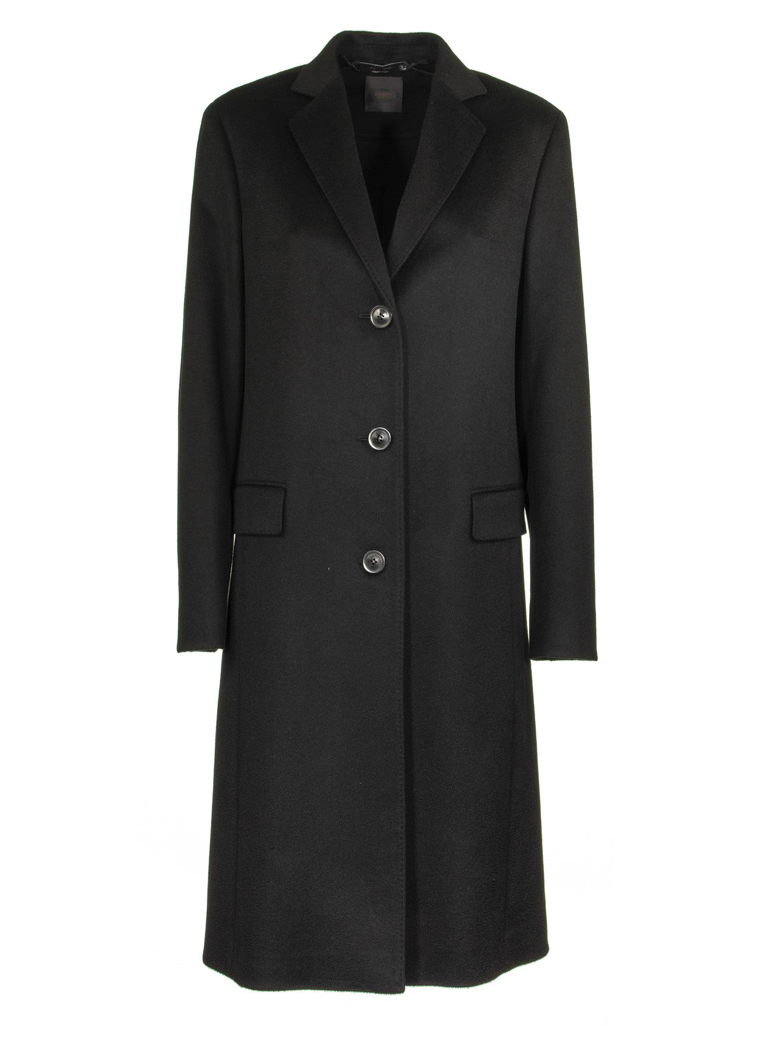 Agnona Slim Cashmere Coat Black