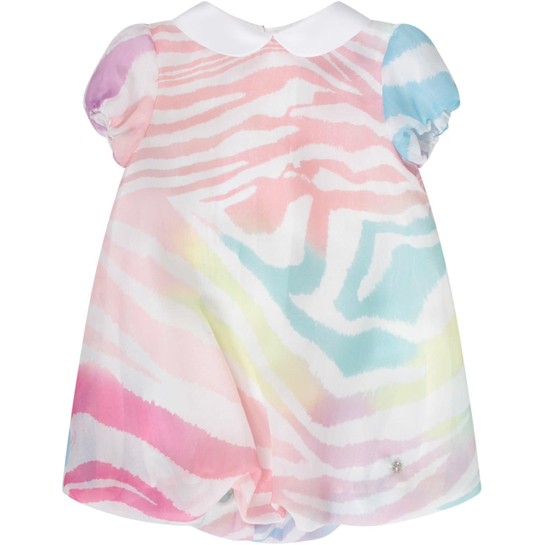 Buy Roberto Cavalli Multicolor Girl Dress With Metallic Logo online, shop Roberto Cavalli with free shipping