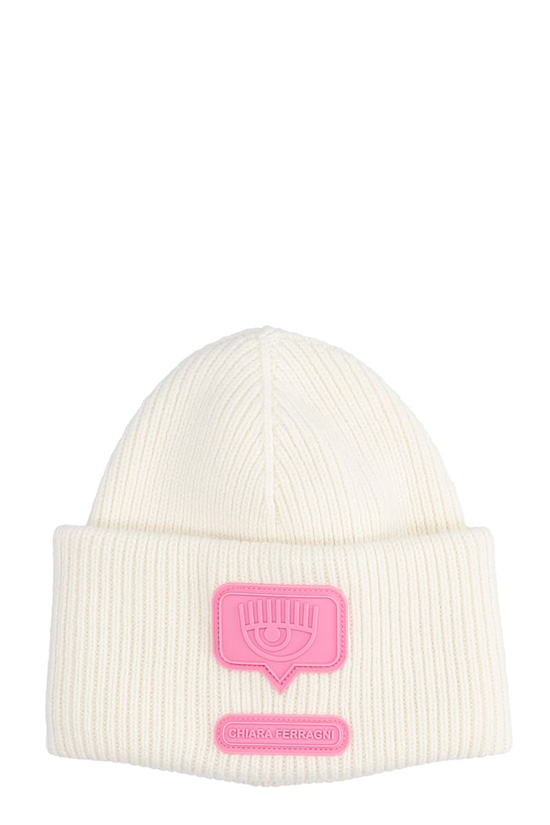 Chiara Ferragni BEANNIE PATCH HATS IN WHITE WOOL