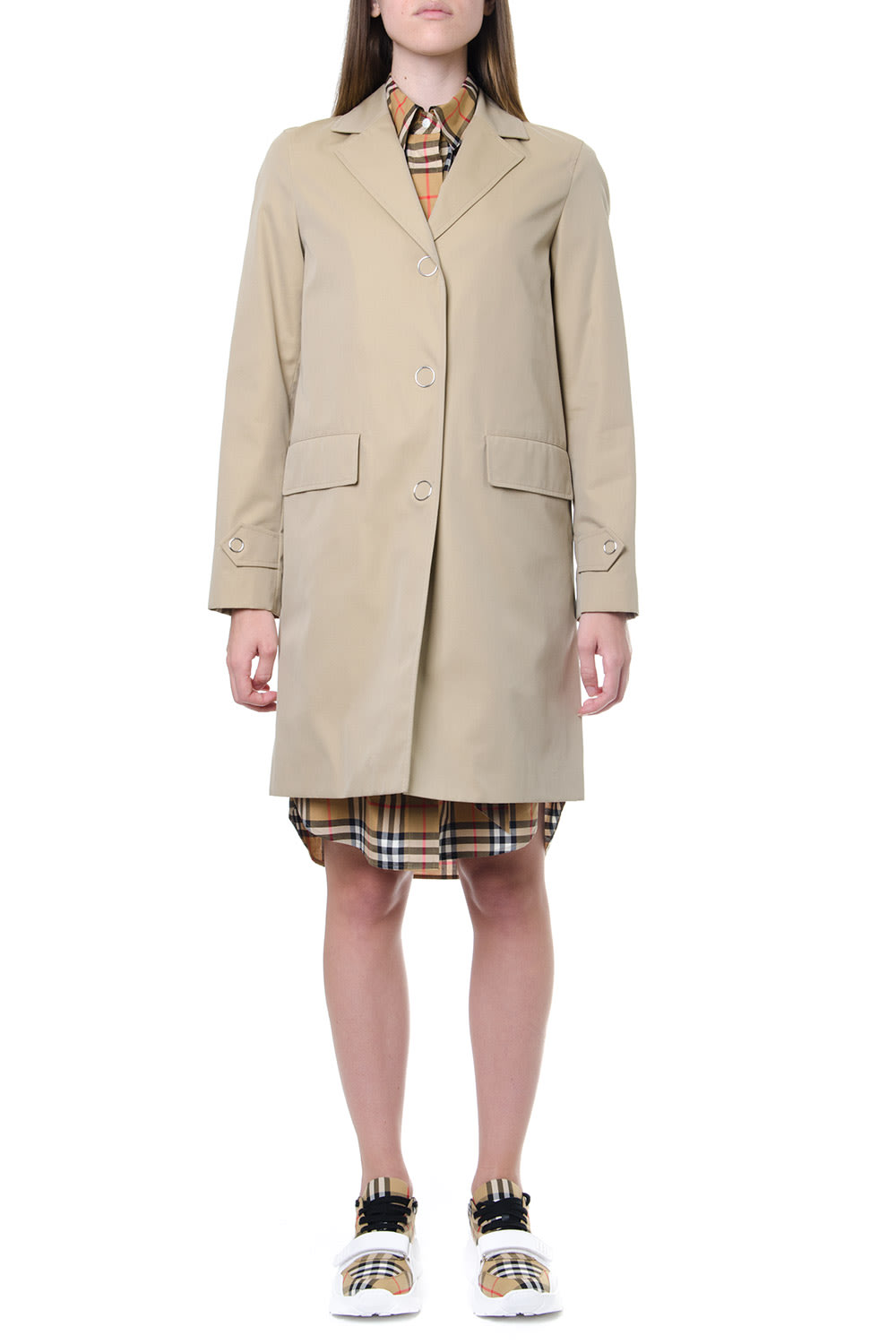Burberry Honey Cotton Single Breasted Trench Coat