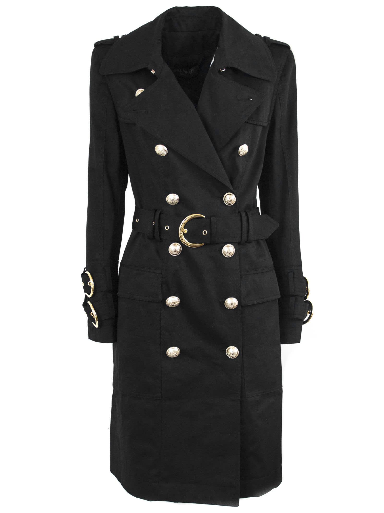 Balmain Long Black Cotton Trench Coat