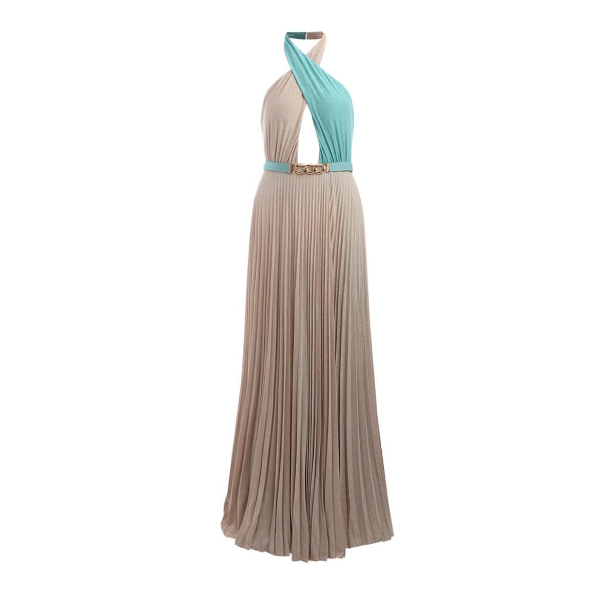 Buy Elisabetta Franchi Maxi Dress With Two-tone Crossed Neckline online, shop Elisabetta Franchi Celyn B. with free shipping