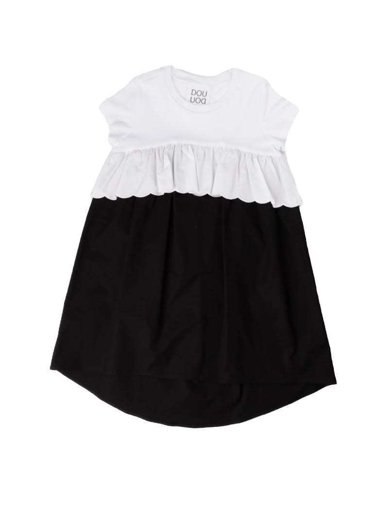 Buy Douuod White And Black Short Sleeve Dress online, shop Douuod with free shipping
