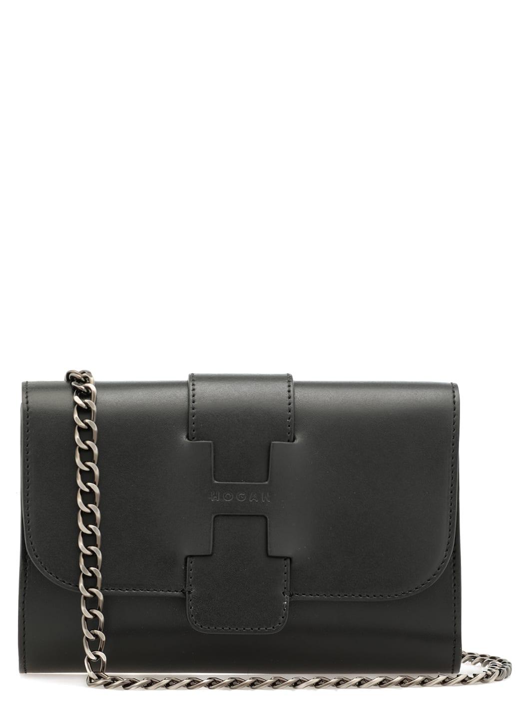 Hogan Leather Small Shoulder Bag In Black