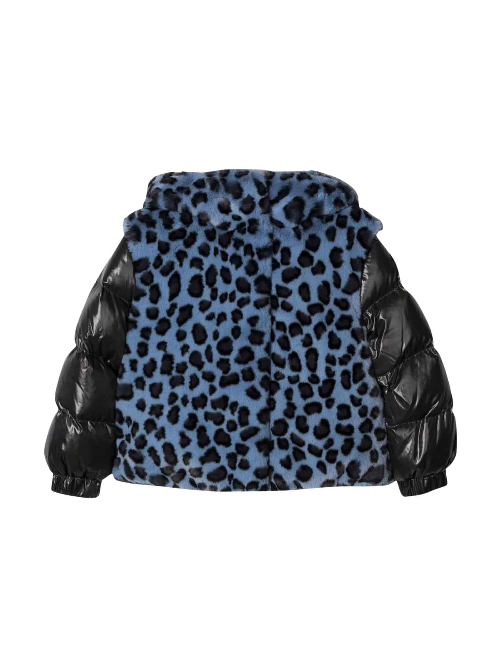 Moncler Blue Moncler Enfant Girl Down Jacket