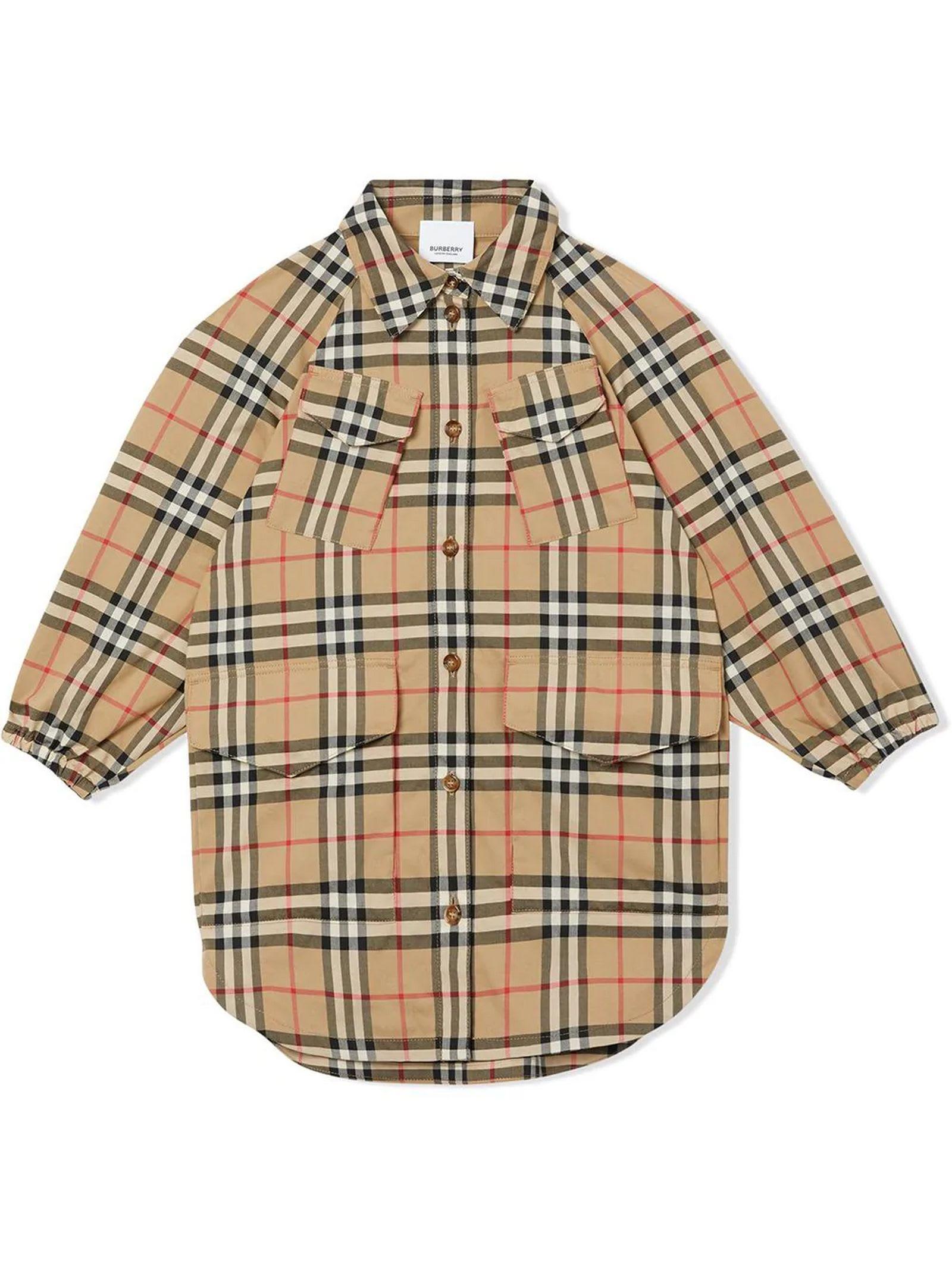 Burberry Beige Cotton Vintage Check Shirt Dress