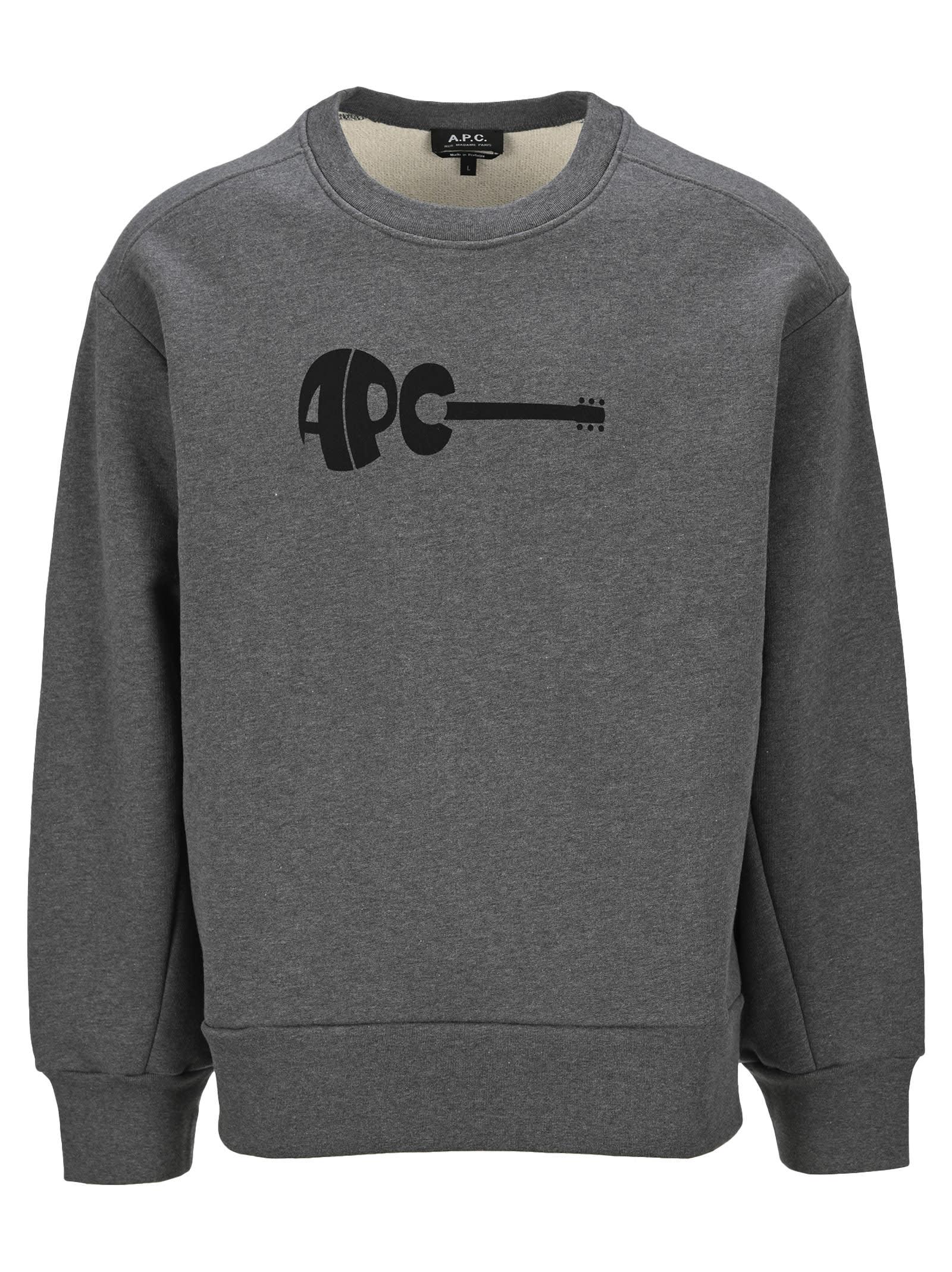 A.p.c. Guitar Crewneck Swetshirt In Dark Grey Mel