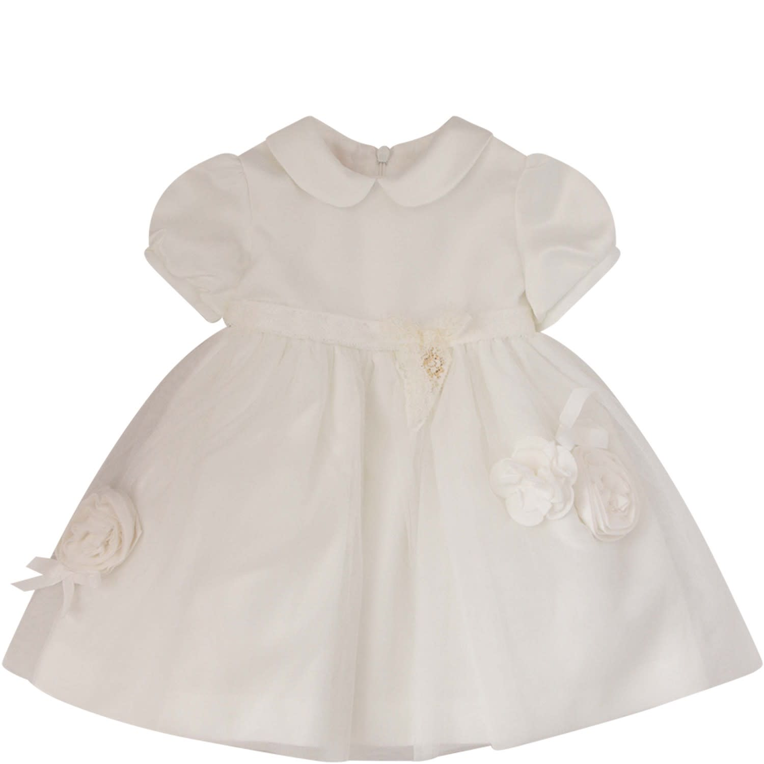 Blumarine White Dress With Tulle Flowers And Bows