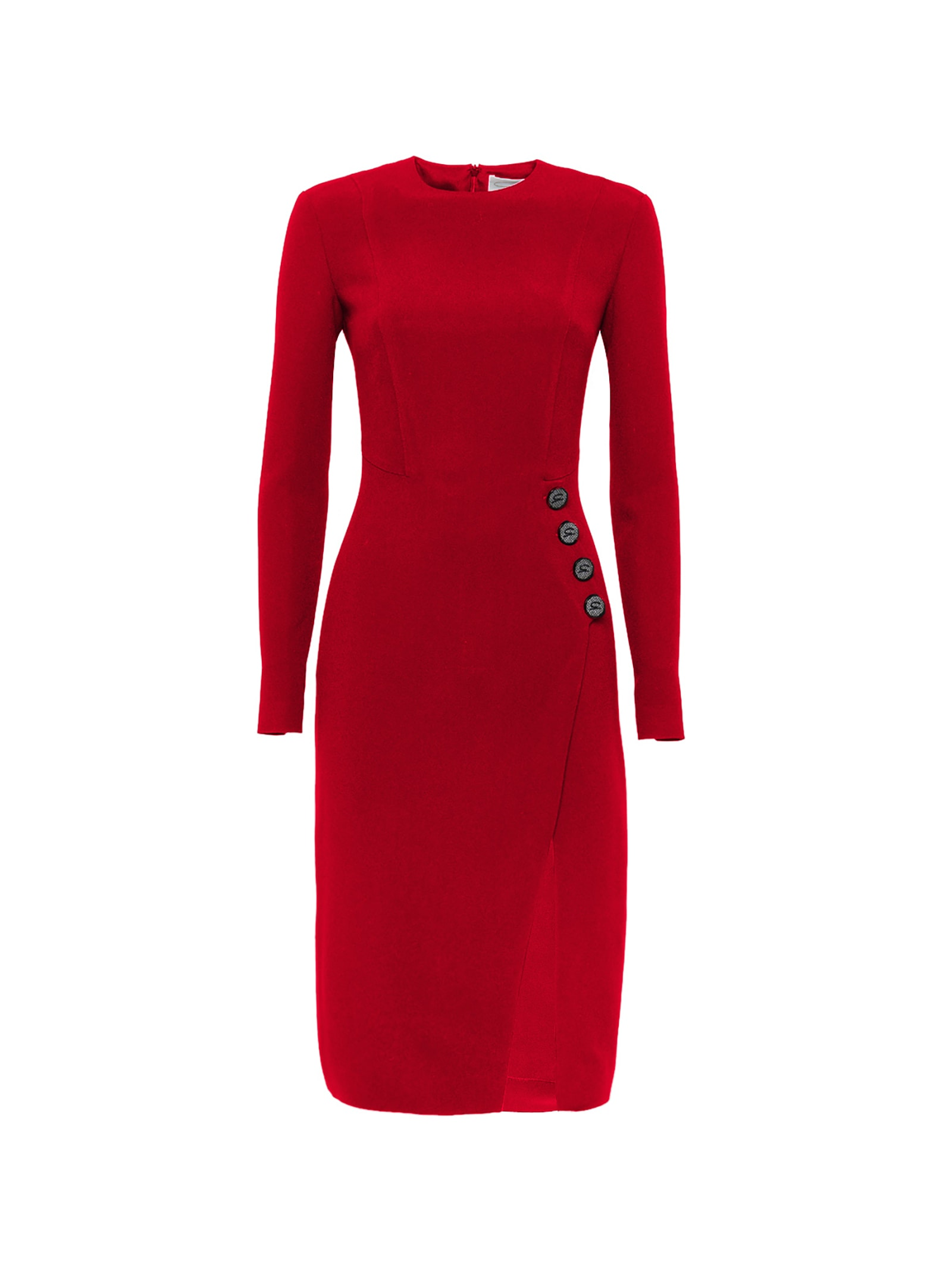 Red Buttons-detailed Dress