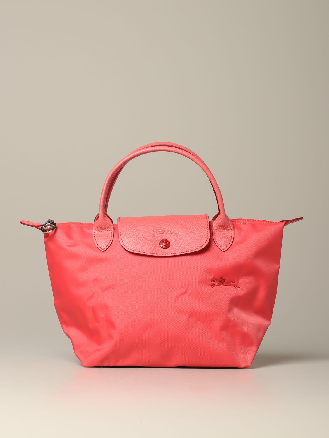 Longchamp Bag In Nylon With Logo In Geranium