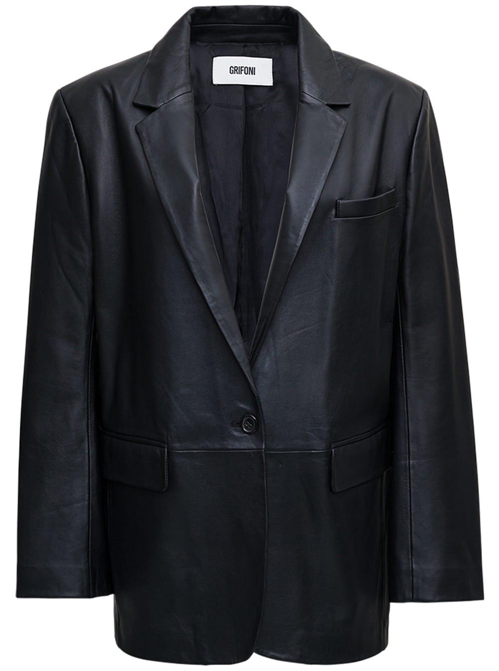 Single-breasted Black Leather Jacket