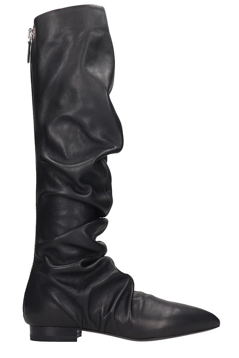 Jil Sander Low Heels Boots In Black Leather