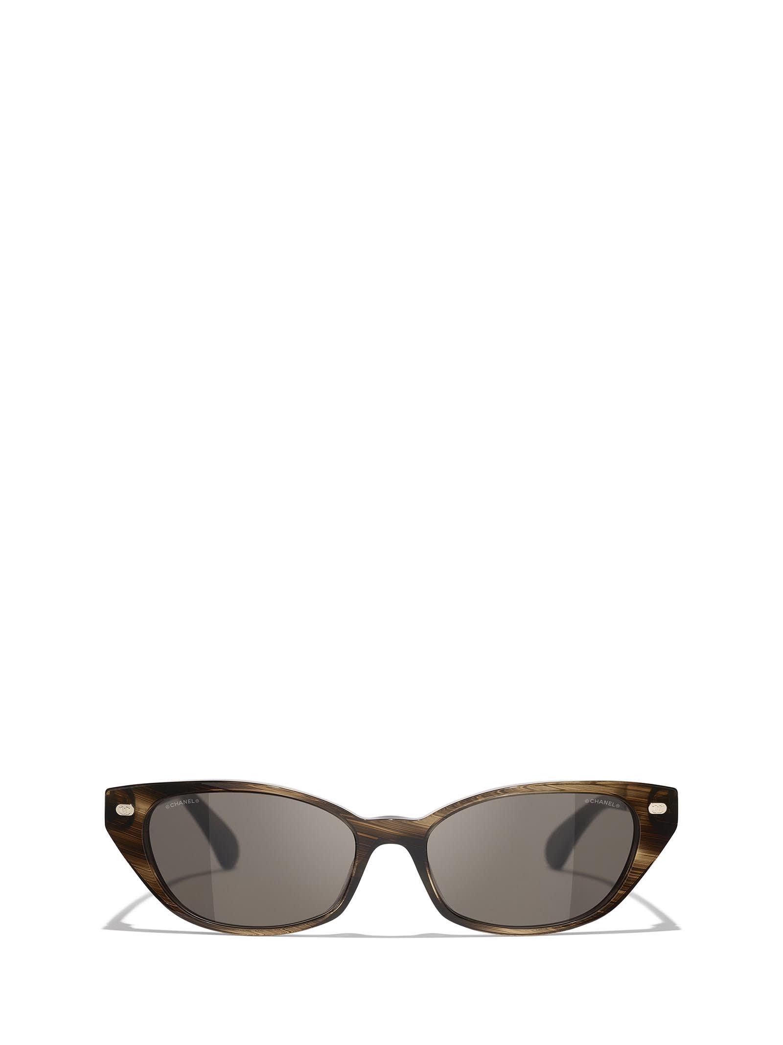 Chanel Ch5438q Brown Striped Sunglasses In 1677/3
